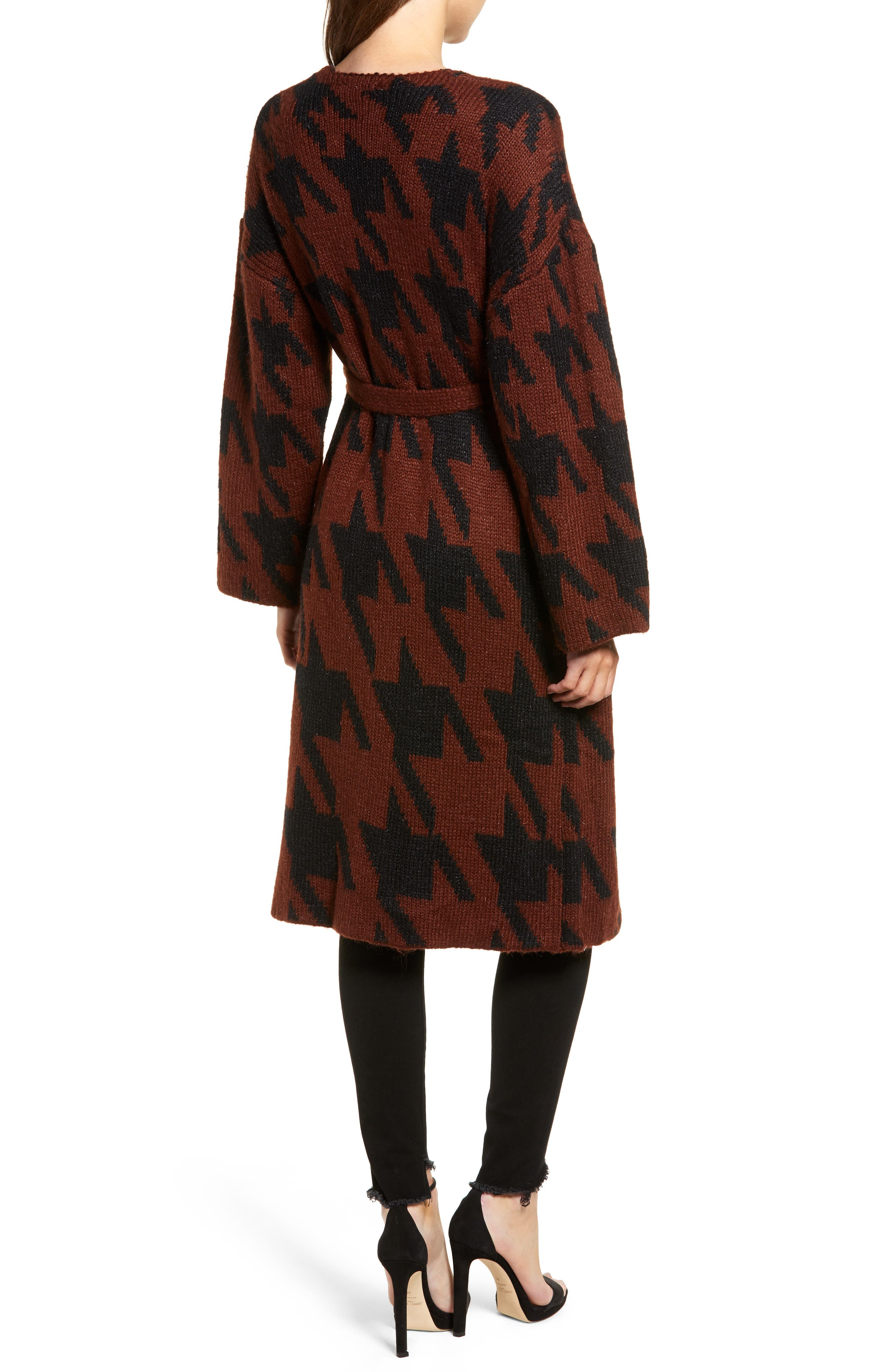 Houndstooth Belted Cardigan,                             Alternate thumbnail 2, color,                             RUST/ BLACK