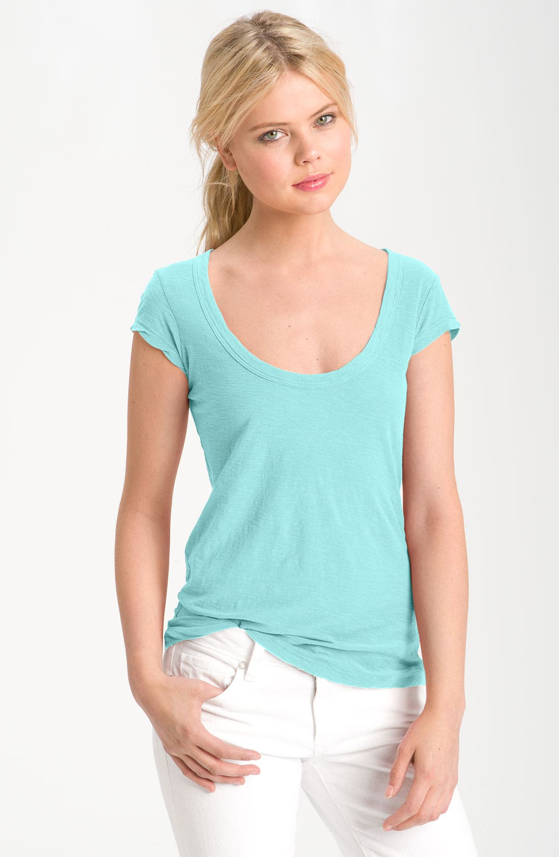 Textured Scoop Neck Tee,                             Main thumbnail 1, color,                             020