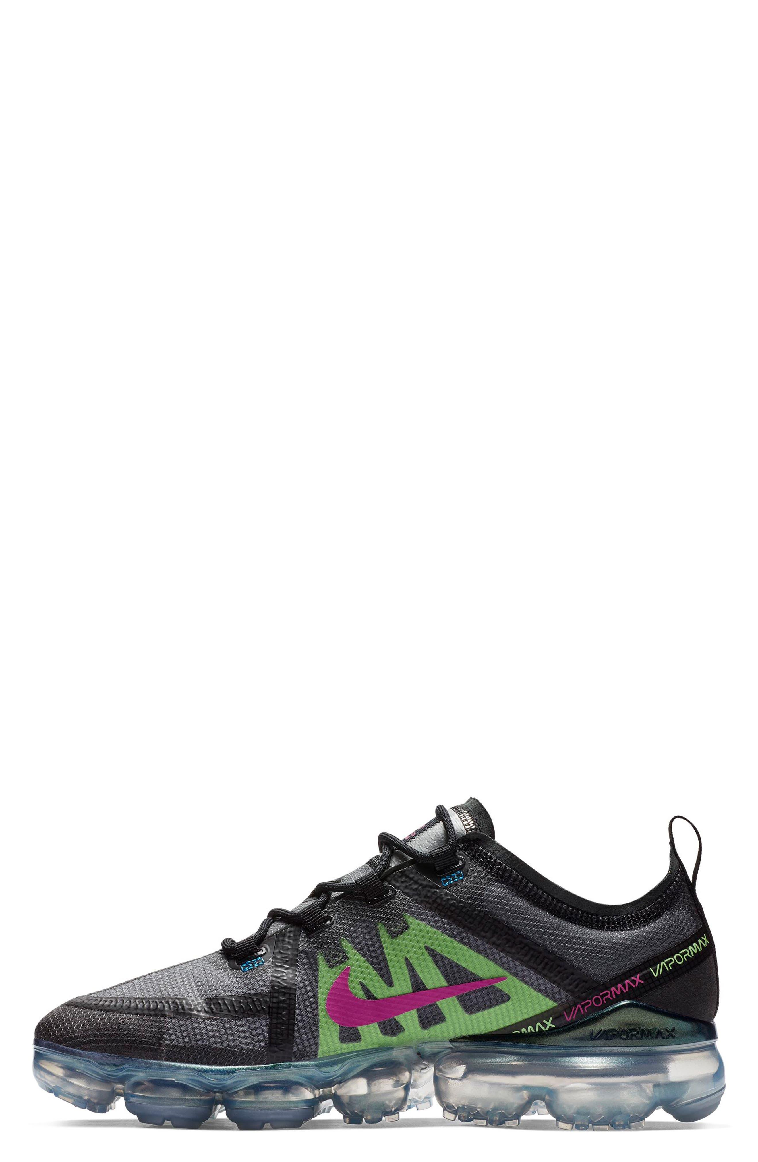 Air VaporMax 2019 Running Shoe,                             Alternate thumbnail 3, color,                             BLACK/ FUCHSIA/ BLUE