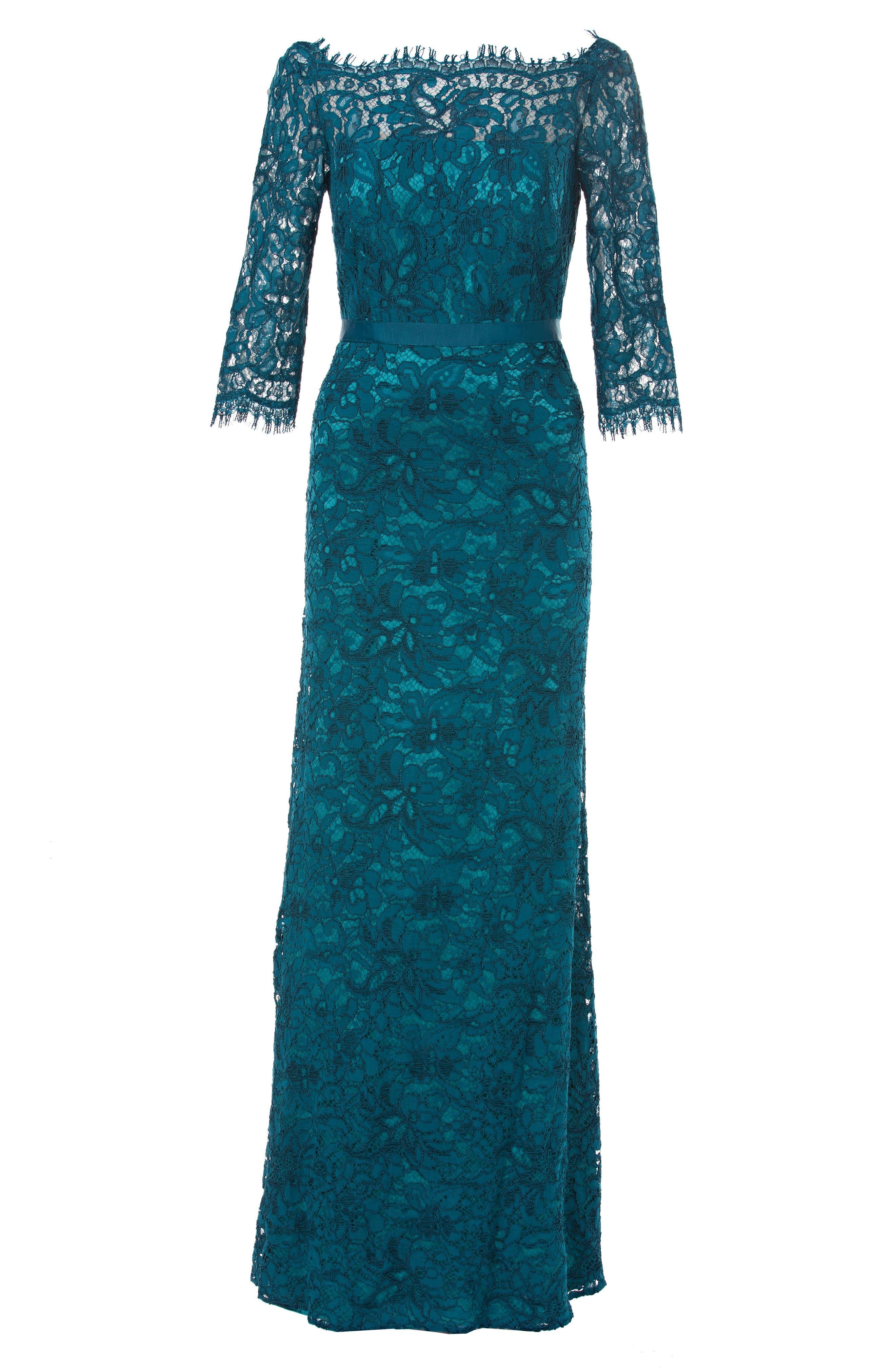 Bateau Neck Lace Gown,                             Alternate thumbnail 3, color,                             428