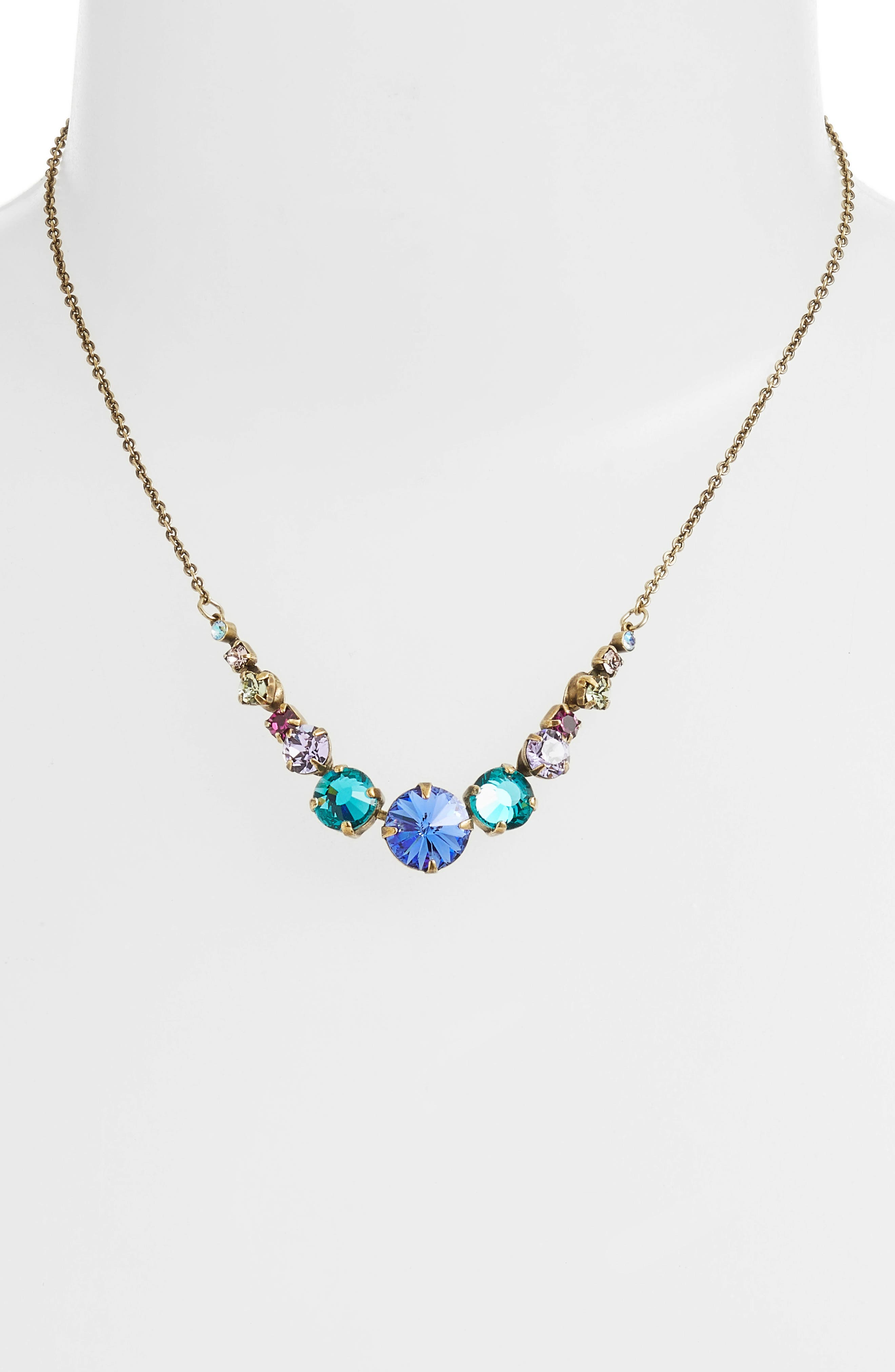 Delicate Round Crystal Necklace,                             Alternate thumbnail 2, color,                             GOLD MULTI