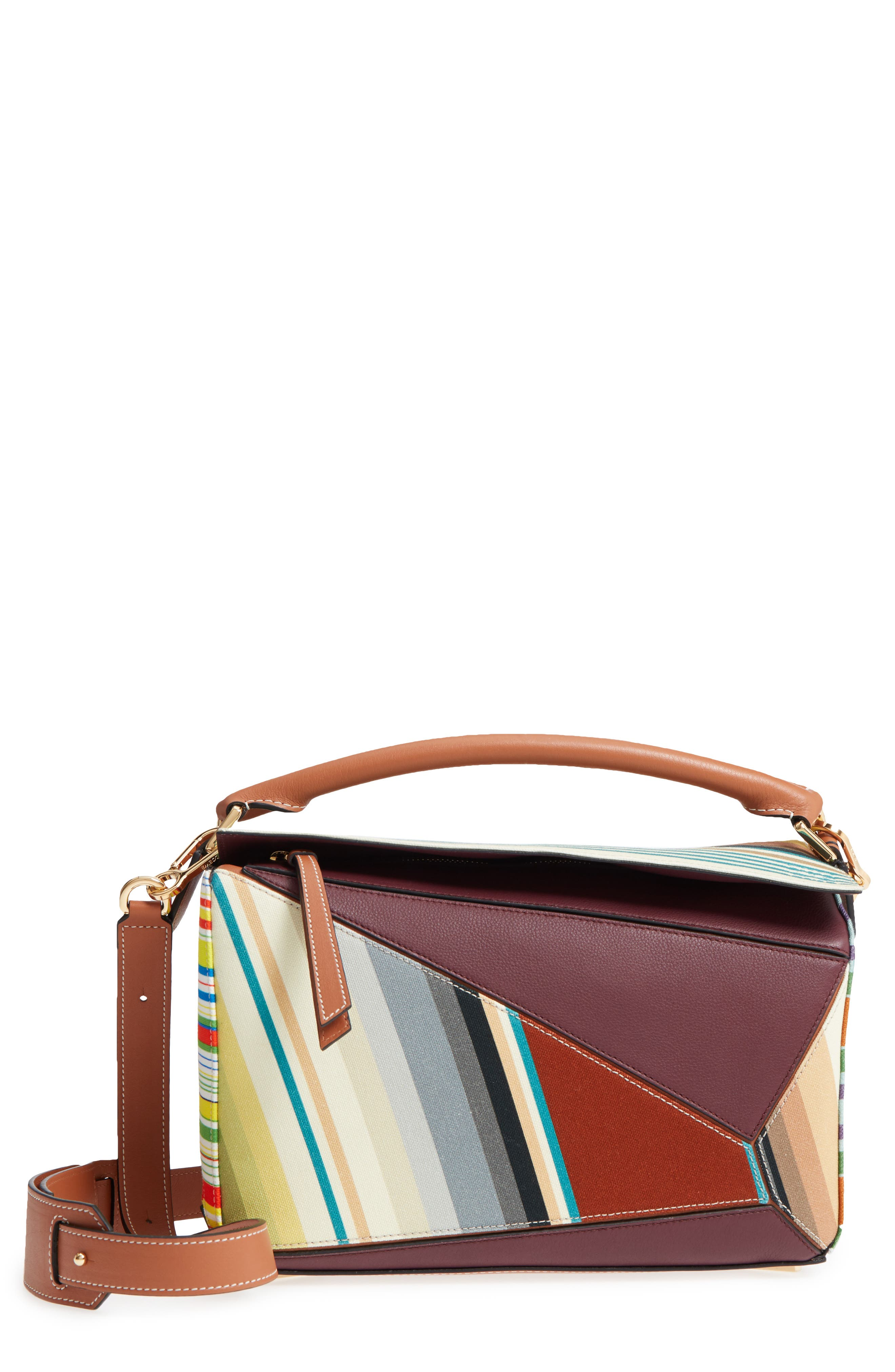Medium Puzzle Stripe Canvas & Leather Shoulder Bag,                         Main,                         color,