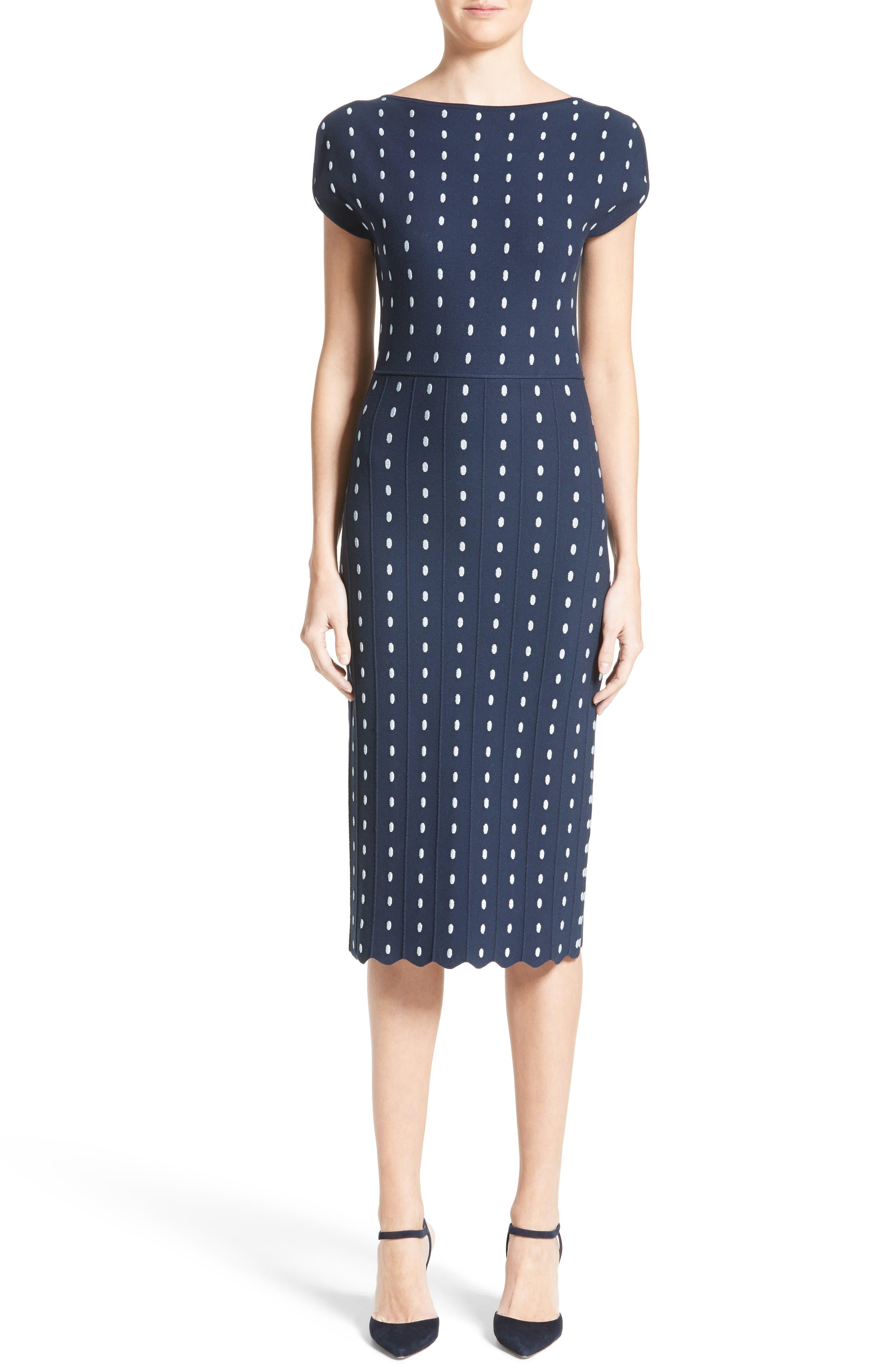 Dot Knit Sheath Dress,                             Alternate thumbnail 6, color,                             400