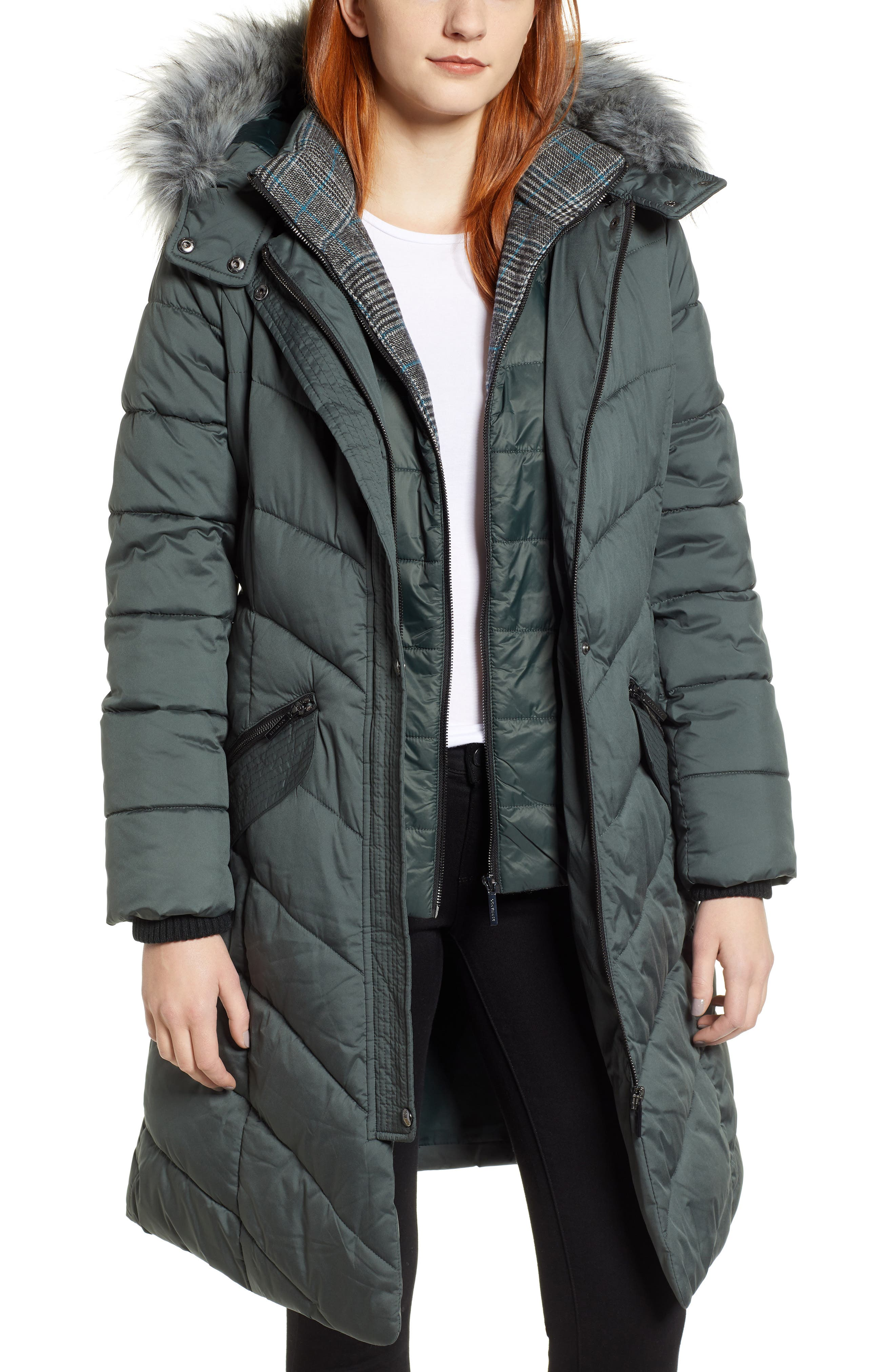 Puffer Jacket with Faux Fur Trim, Main, color, DARK MOSS