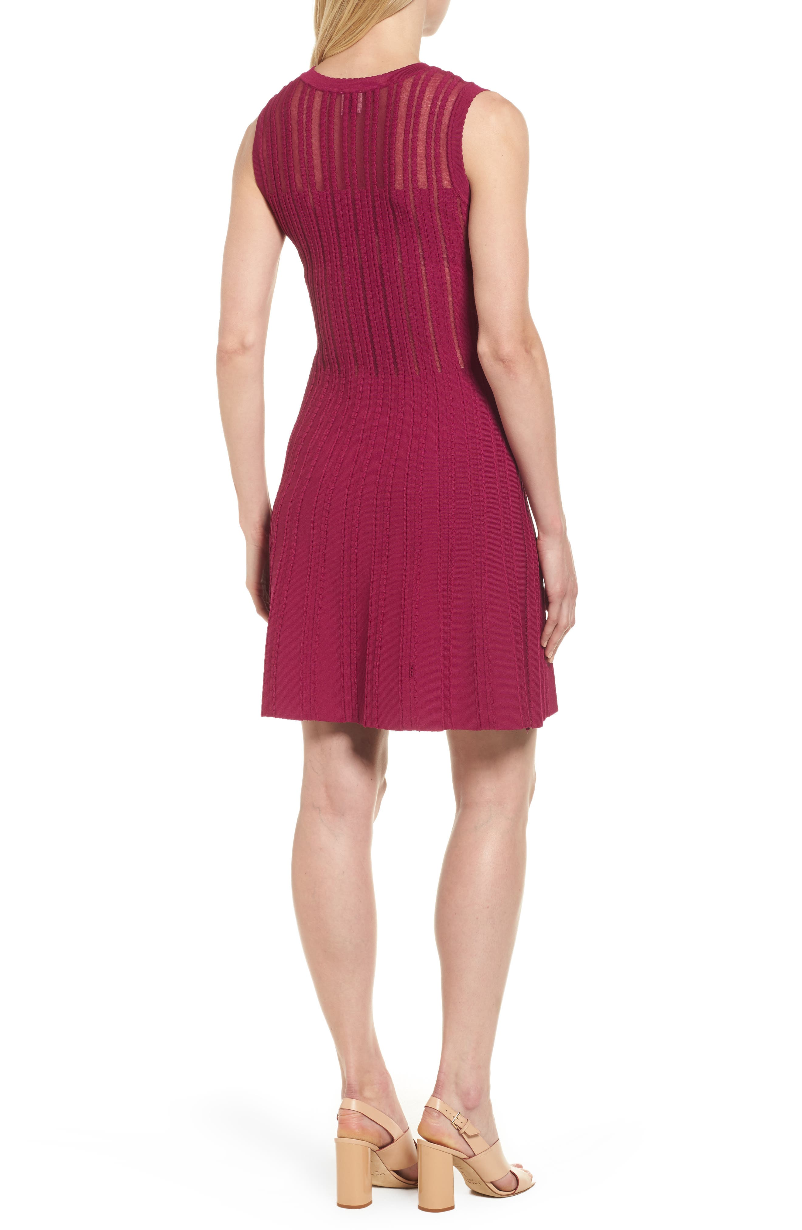 Knit Fit & Flare Dress,                             Alternate thumbnail 4, color,