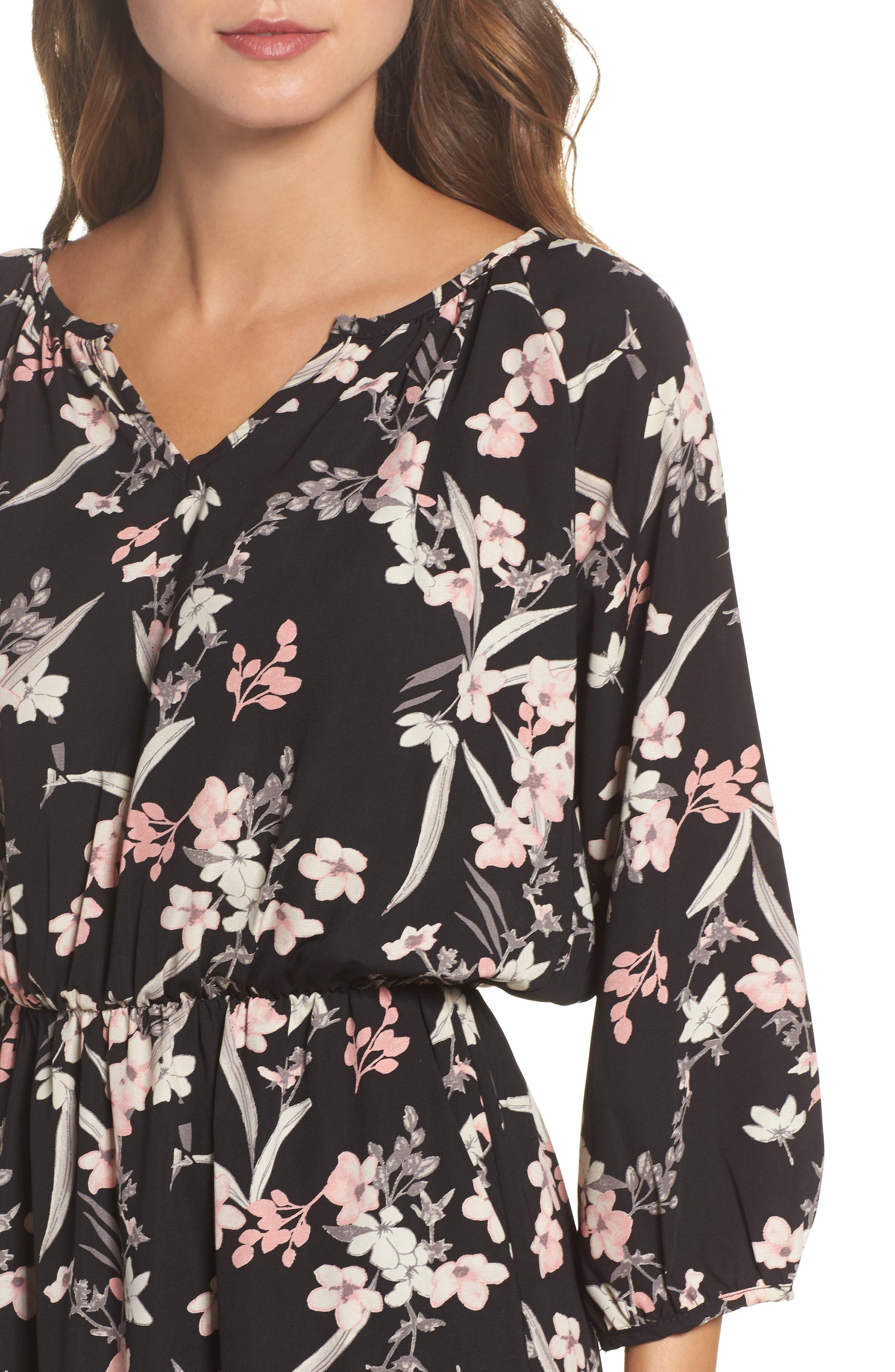 Blouson Midi Dress,                             Alternate thumbnail 4, color,                             IRIS