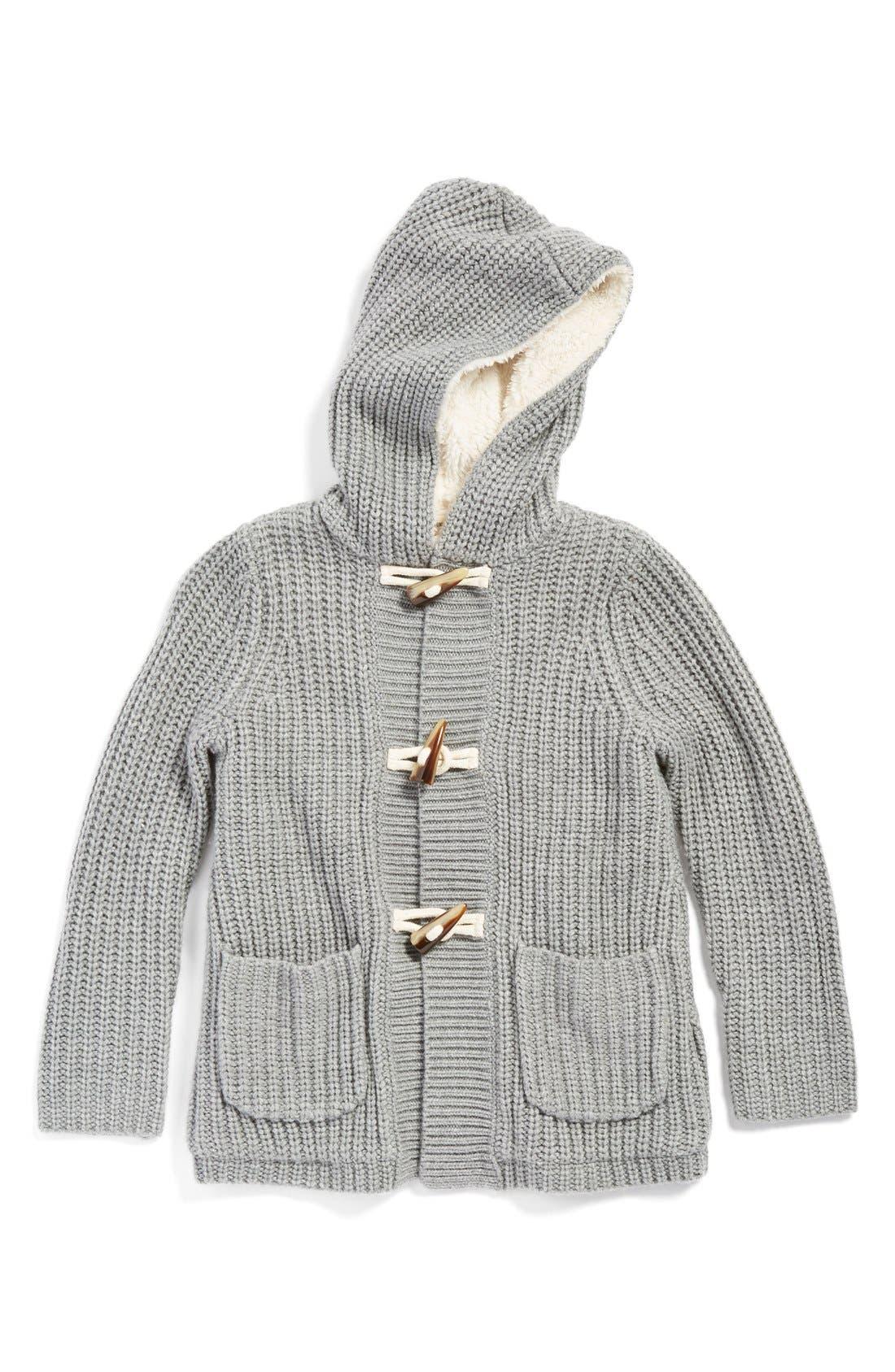 'Core' Faux Fur Lined HoodedSweater Coat,                             Main thumbnail 1, color,                             030