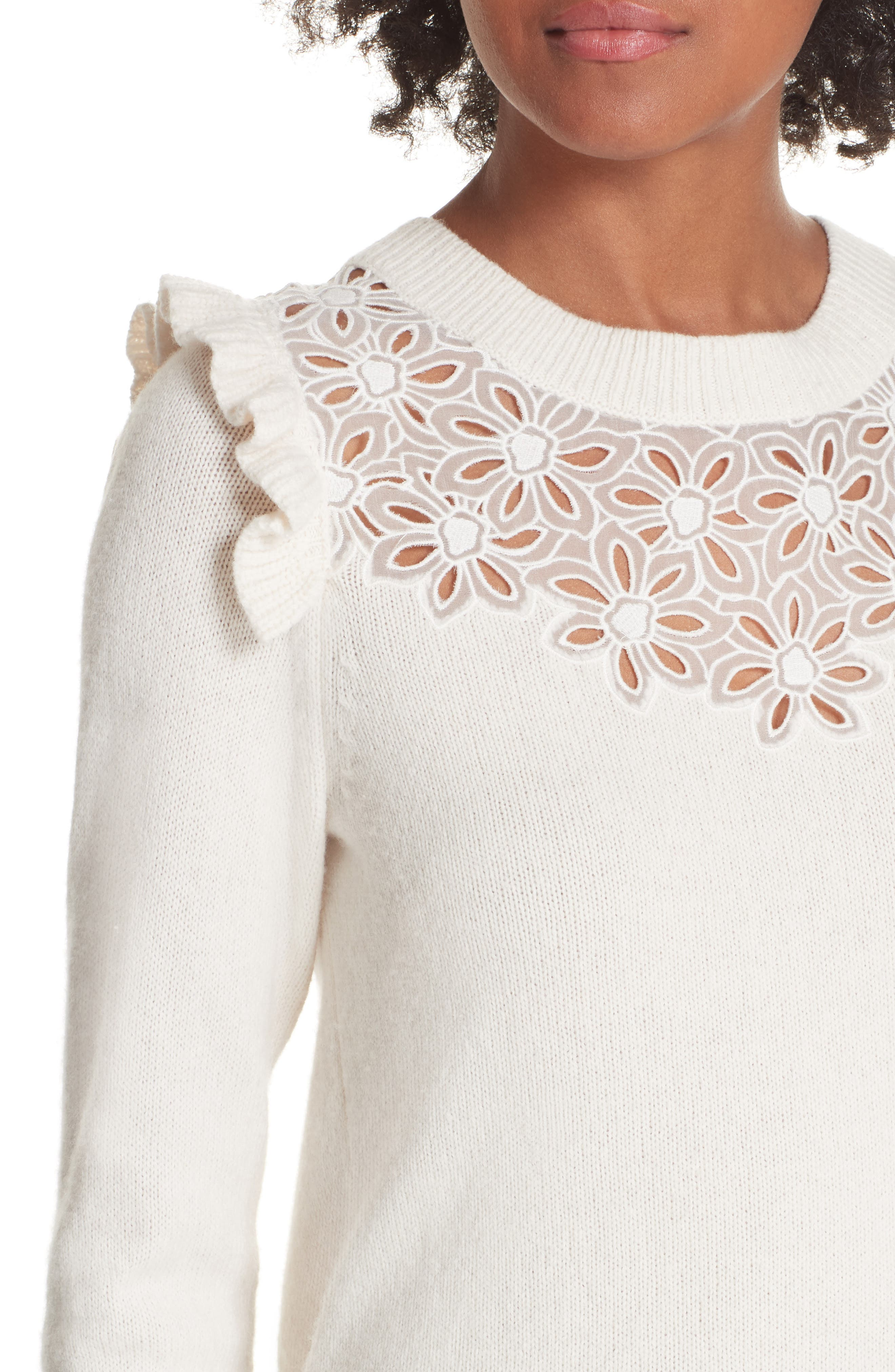 Emilie Embroidered Sweater,                             Alternate thumbnail 4, color,                             CREAM