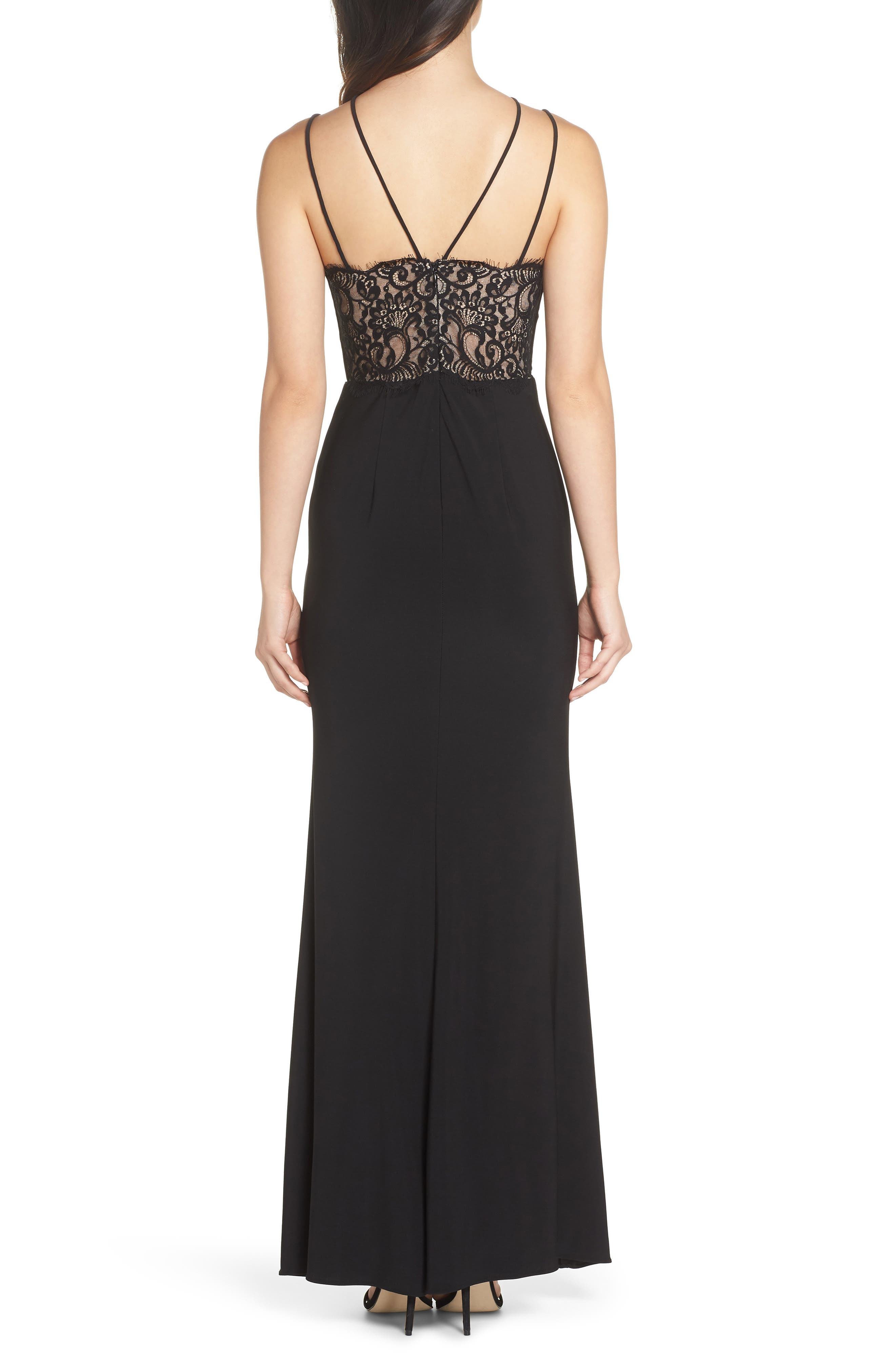 Strappy Lace Inset Trumpet Gown,                             Alternate thumbnail 2, color,                             BLACK