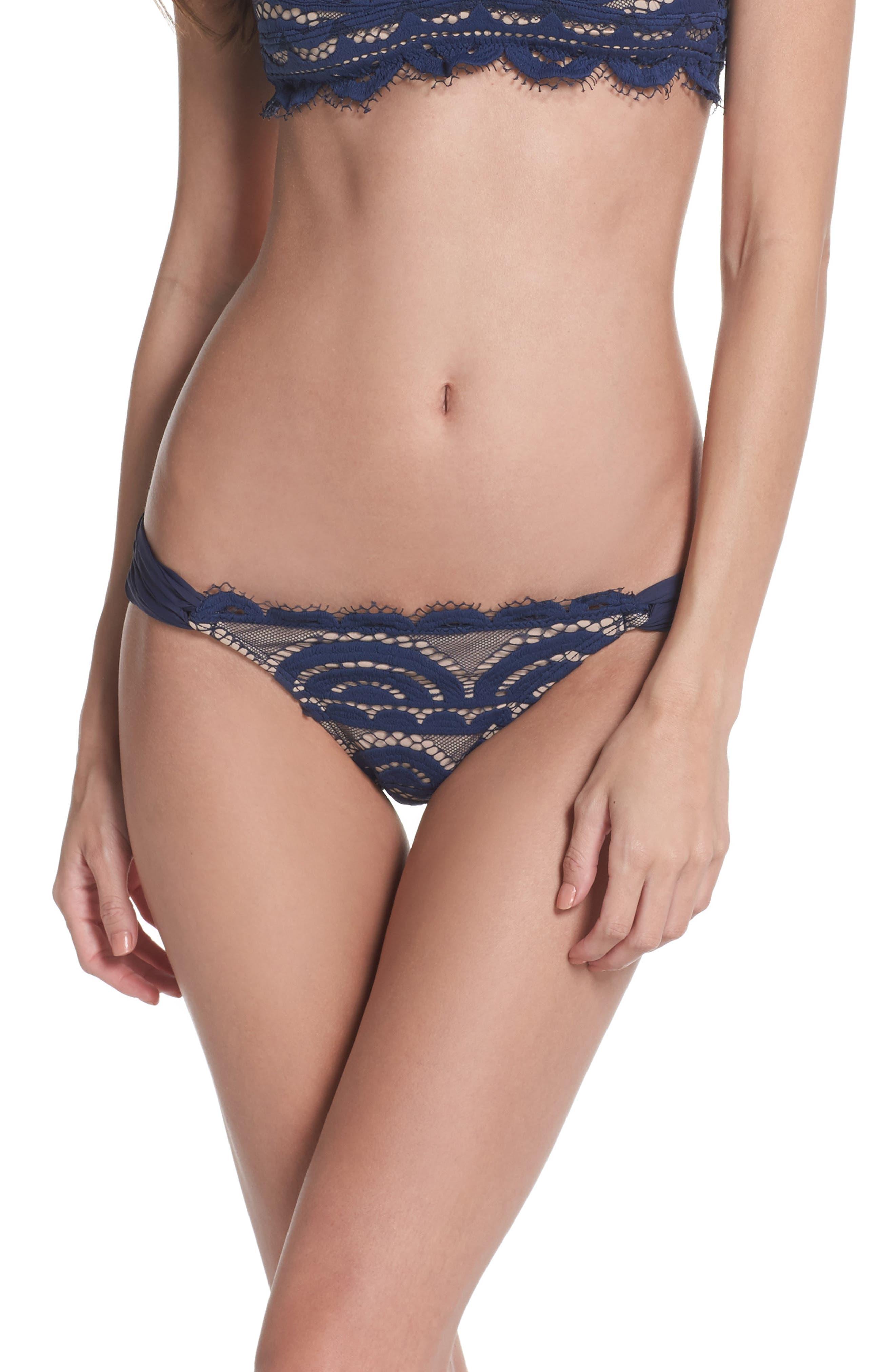 Lace Fanned Teeny Bikini Bottoms,                         Main,                         color, 413