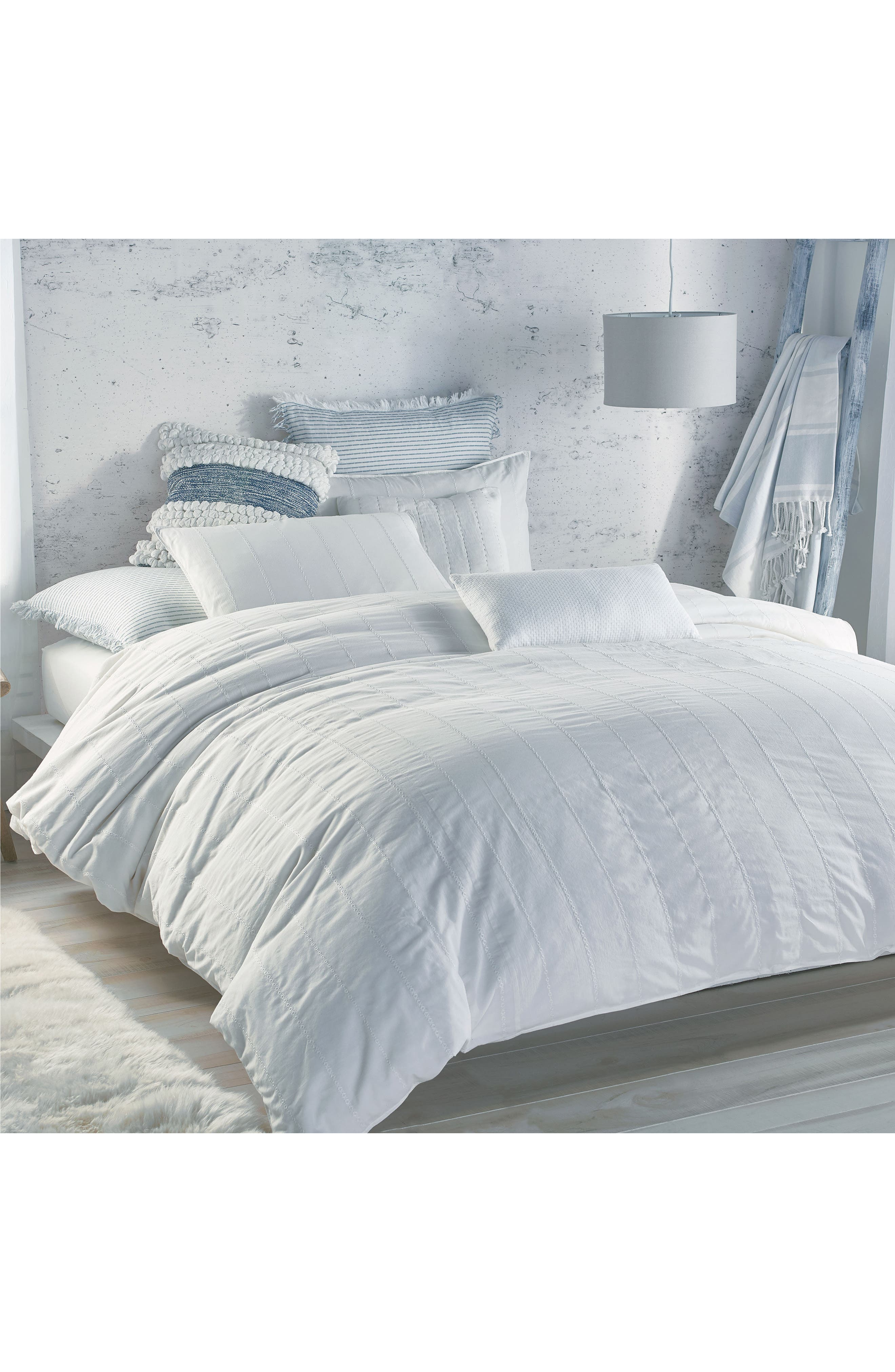 Pure Eyelet Voile Duvet Cover,                         Main,                         color, WHITE
