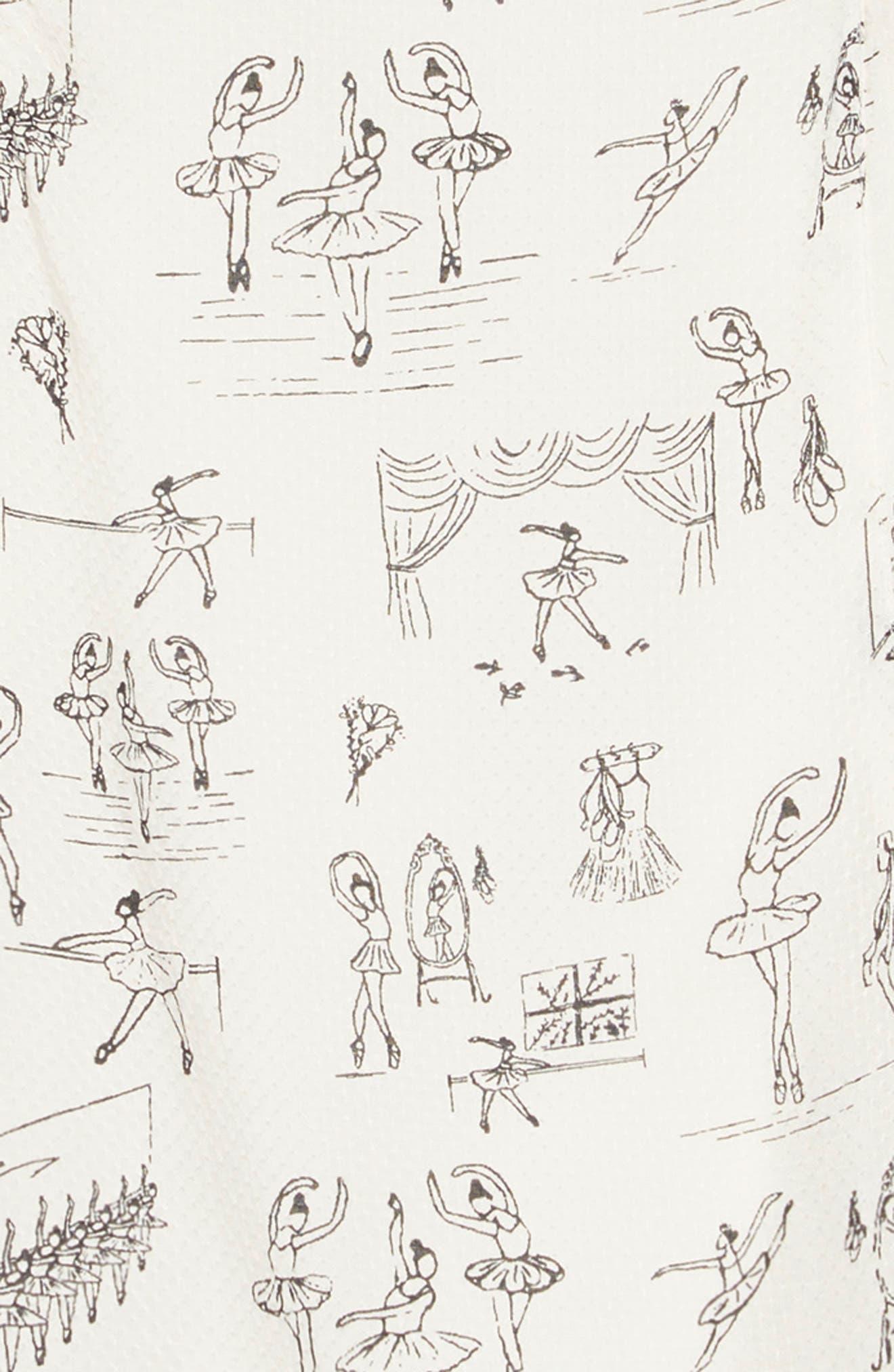 Ballet Print Ruffle Dress,                             Alternate thumbnail 3, color,                             IVORY EGRET BALLET