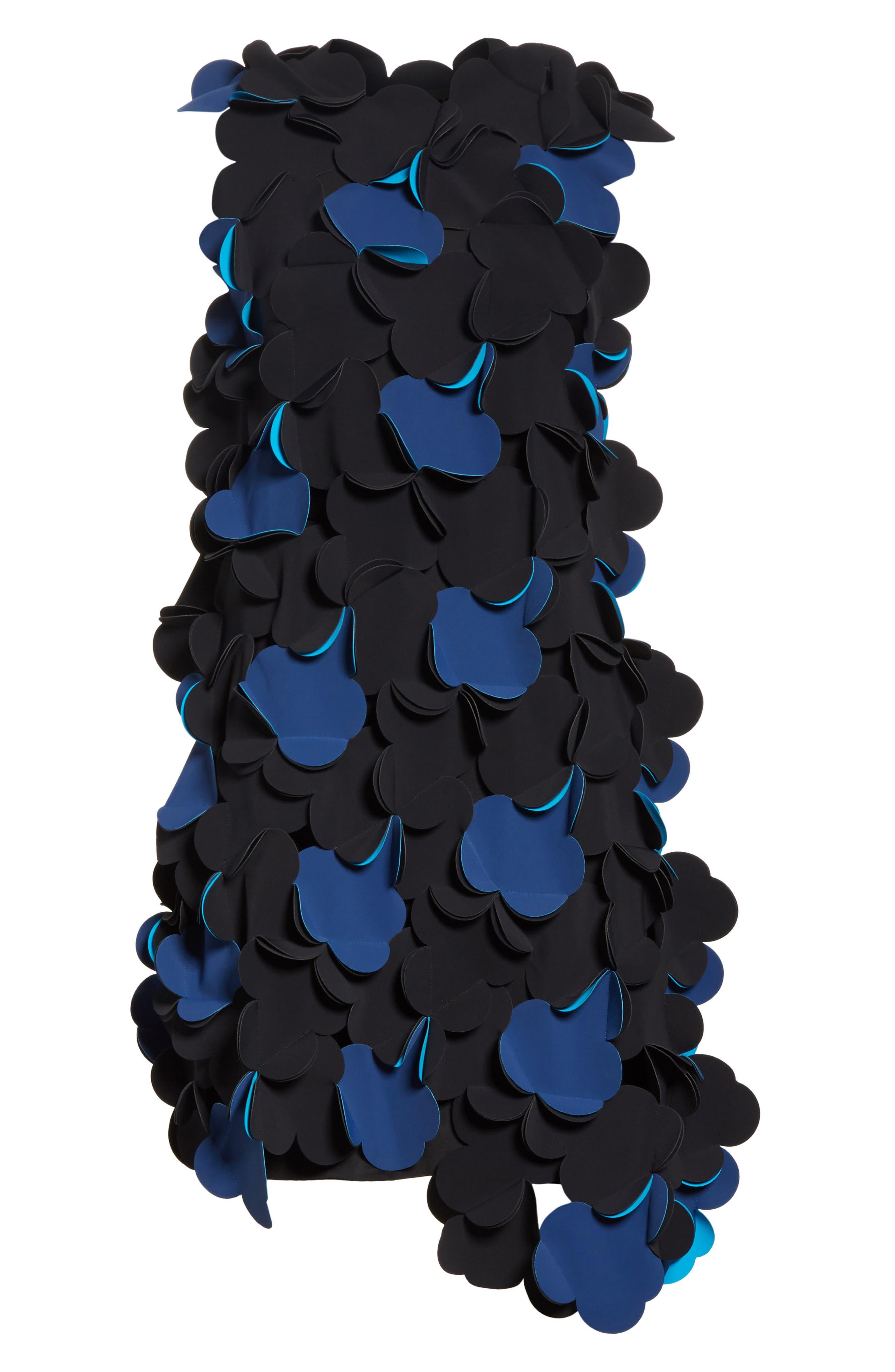 Laser Cut Appliqué Asymmetrical Dress,                             Alternate thumbnail 6, color,                             001