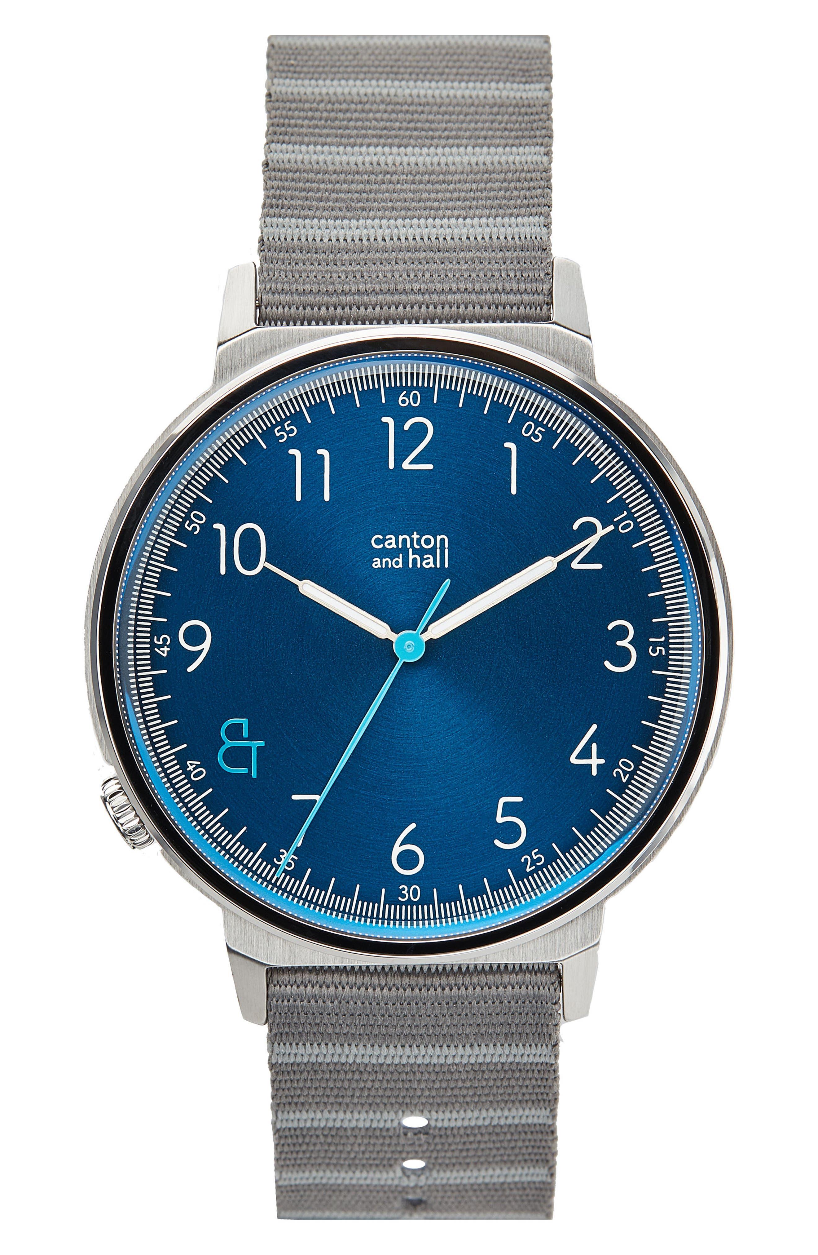 Davis Slim Nylon Strap Watch, 44mm,                         Main,                         color, 020