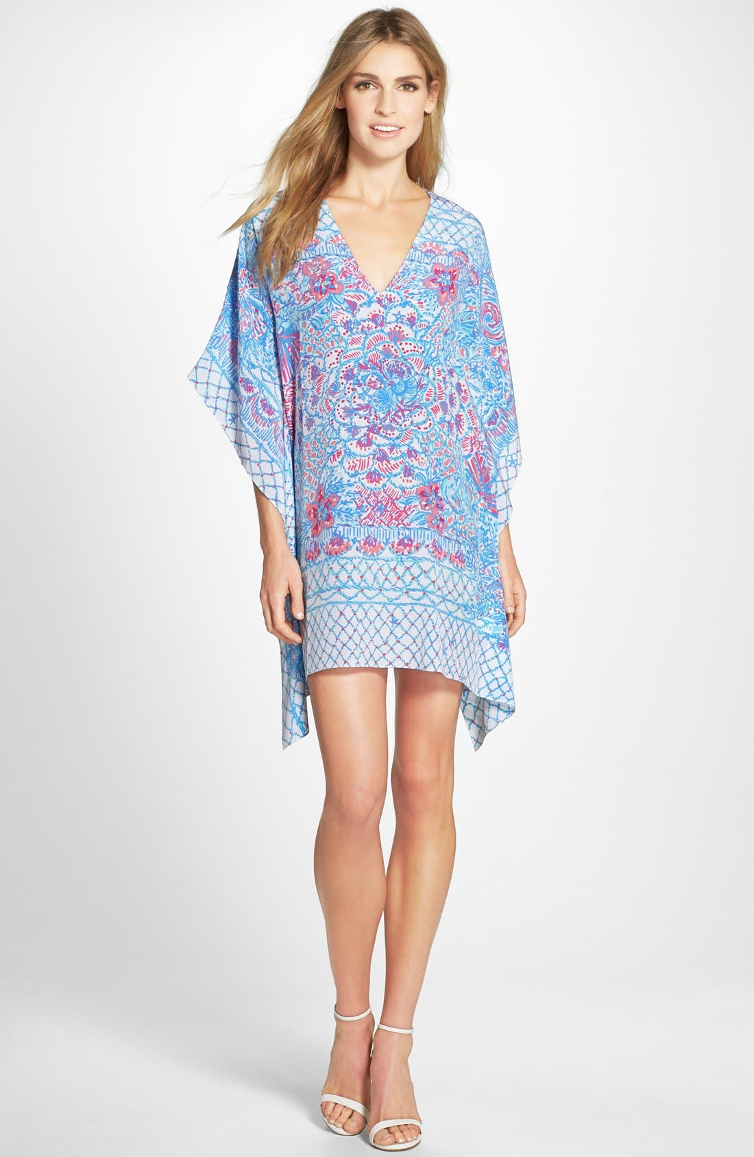 LILLY PULITZER<SUP>®</SUP>,                             'Lindamarie' Print Silk Caftan Dress,                             Alternate thumbnail 4, color,                             415