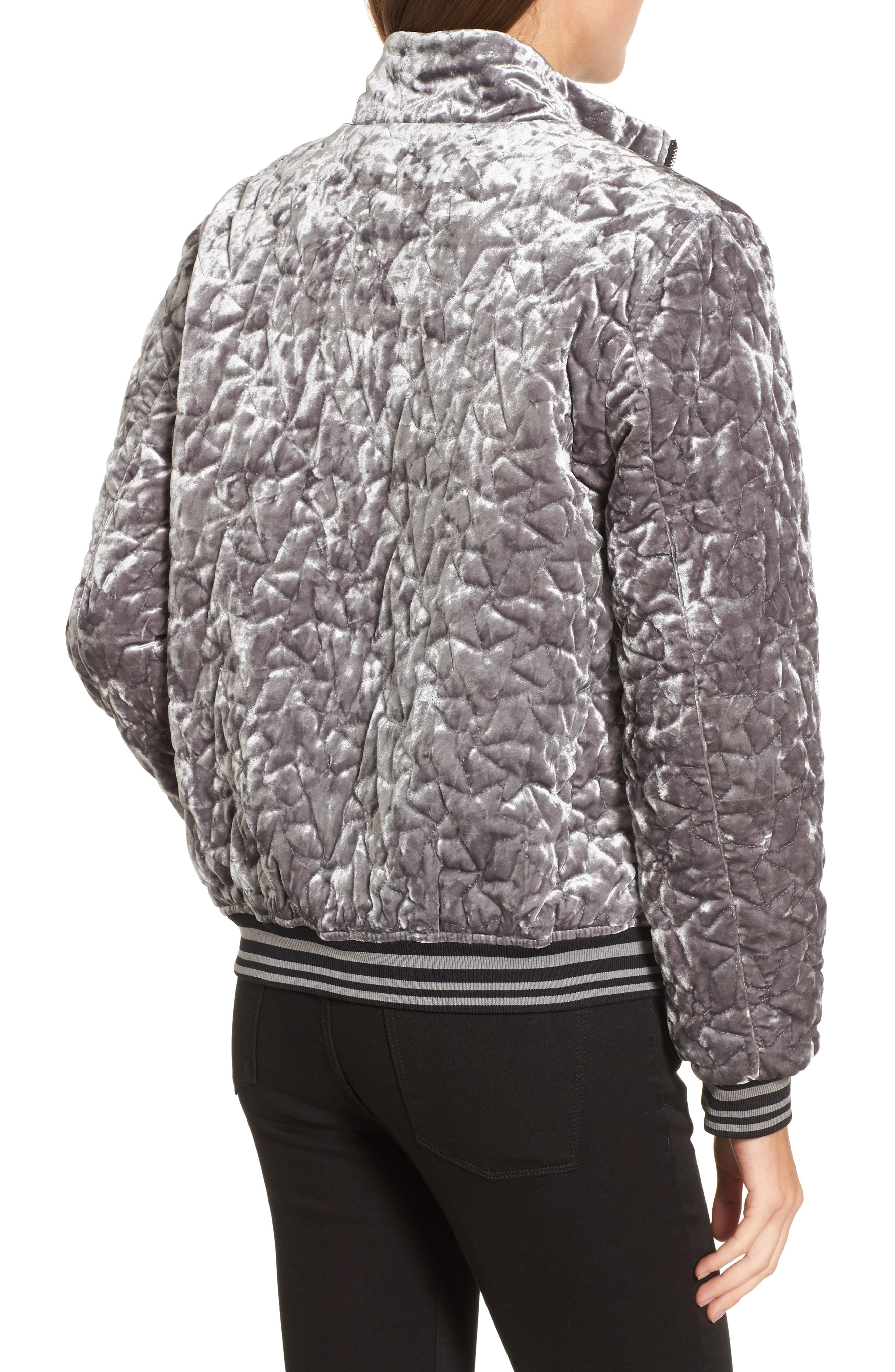 Quilted Velvet Bomber Jacket,                             Alternate thumbnail 2, color,                             049