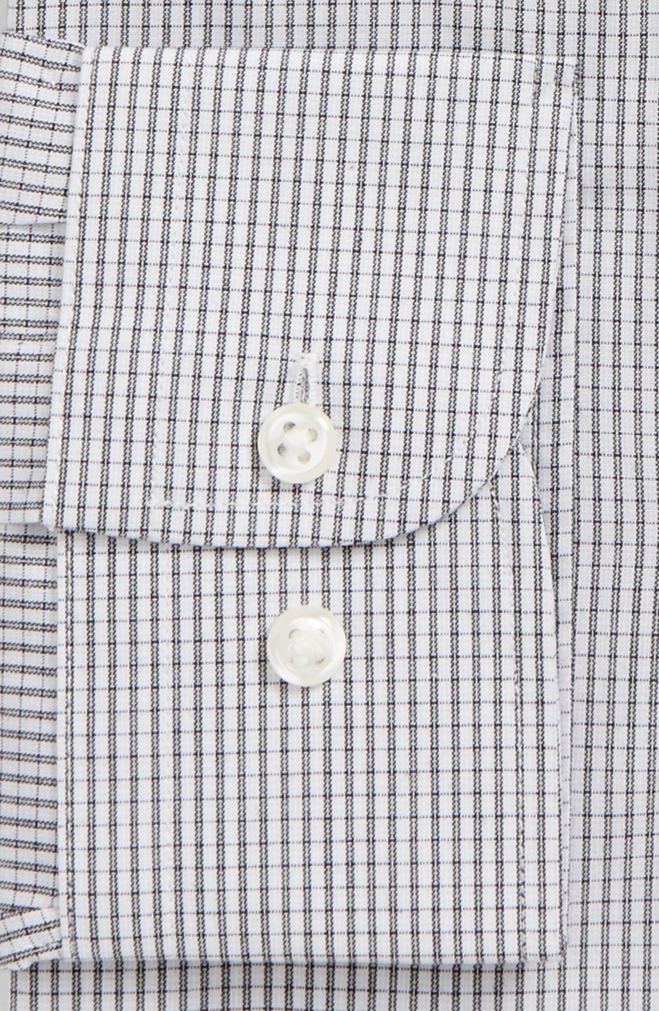 Trim Fit Non-Iron Check Dress Shirt,                             Alternate thumbnail 6, color,                             001