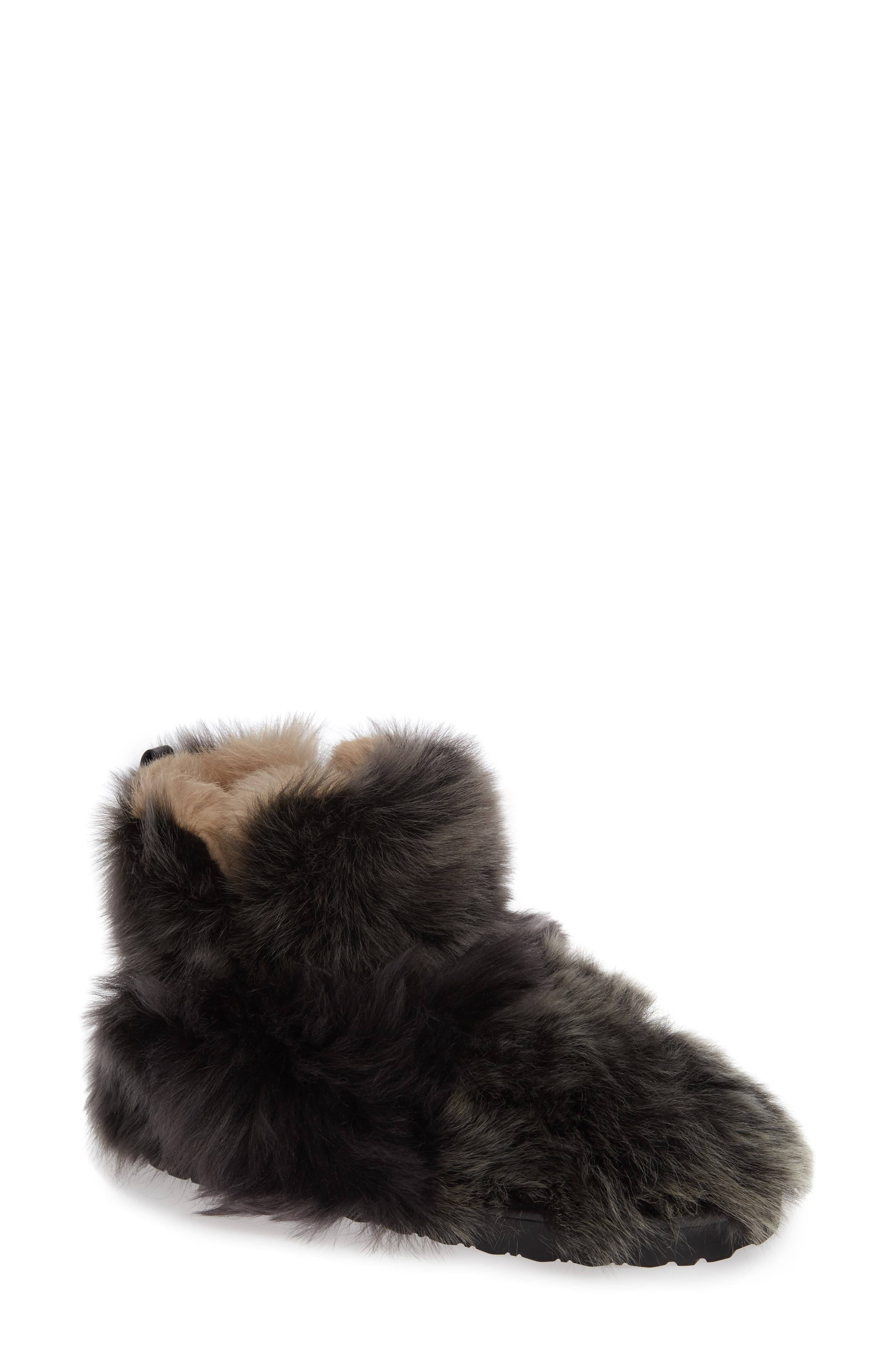 Janica Genuine Shearling Bootie,                             Main thumbnail 1, color,                             PITCH BLACK AGNELLO