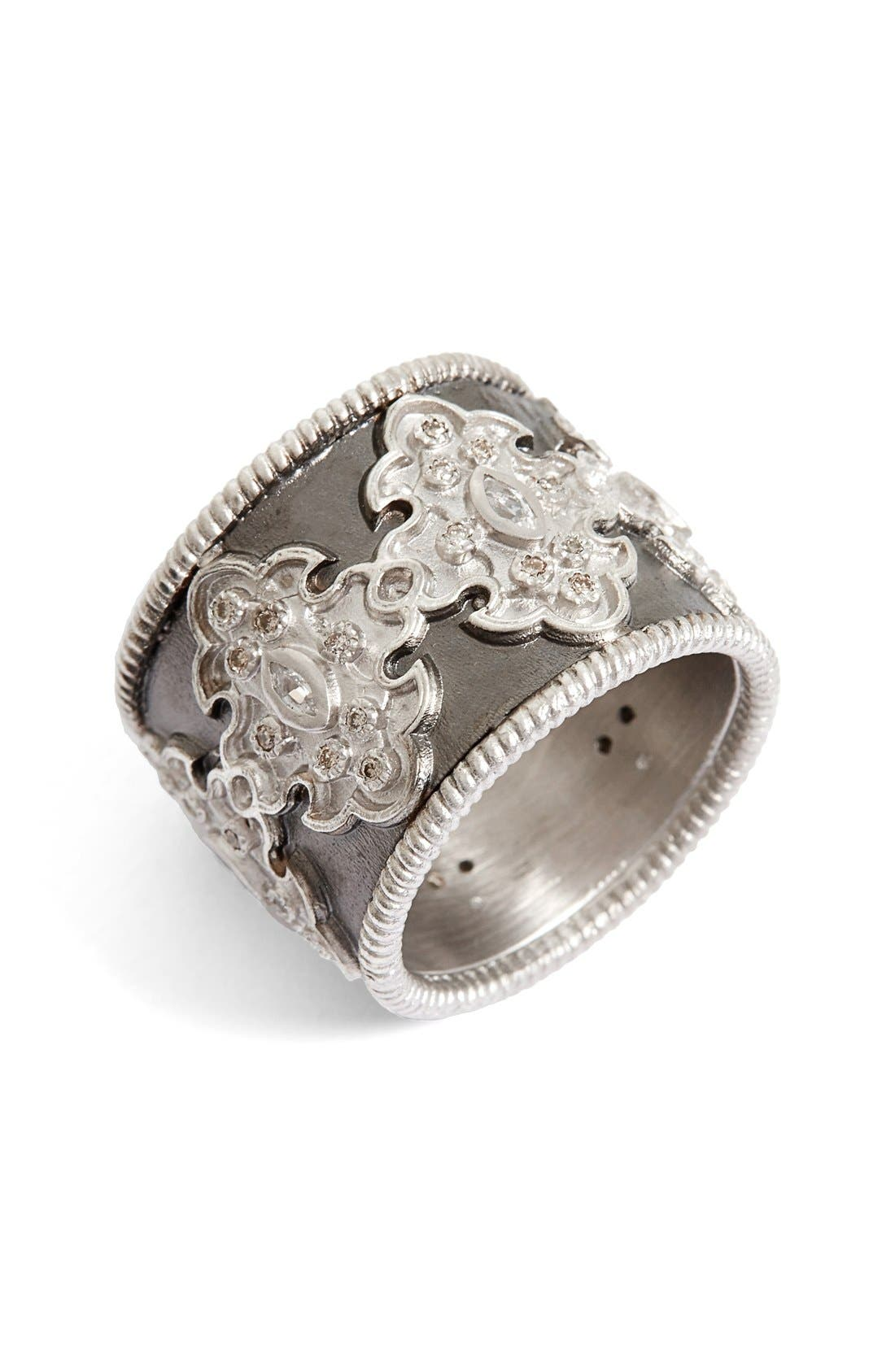 New World Scroll Diamond Band Ring,                         Main,                         color, SILVER