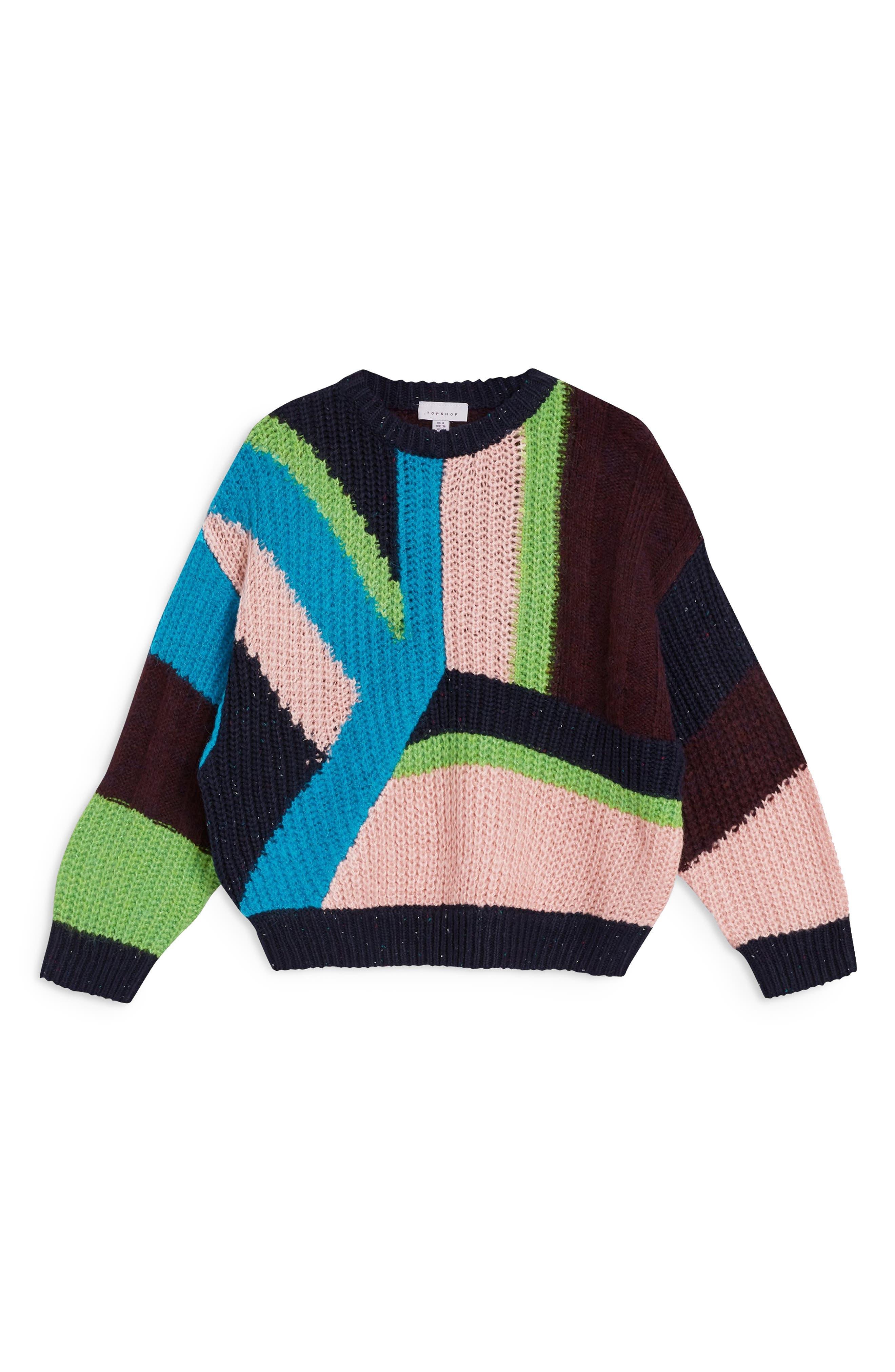 TOPSHOP,                             Colorblock Sweater,                             Alternate thumbnail 3, color,                             002