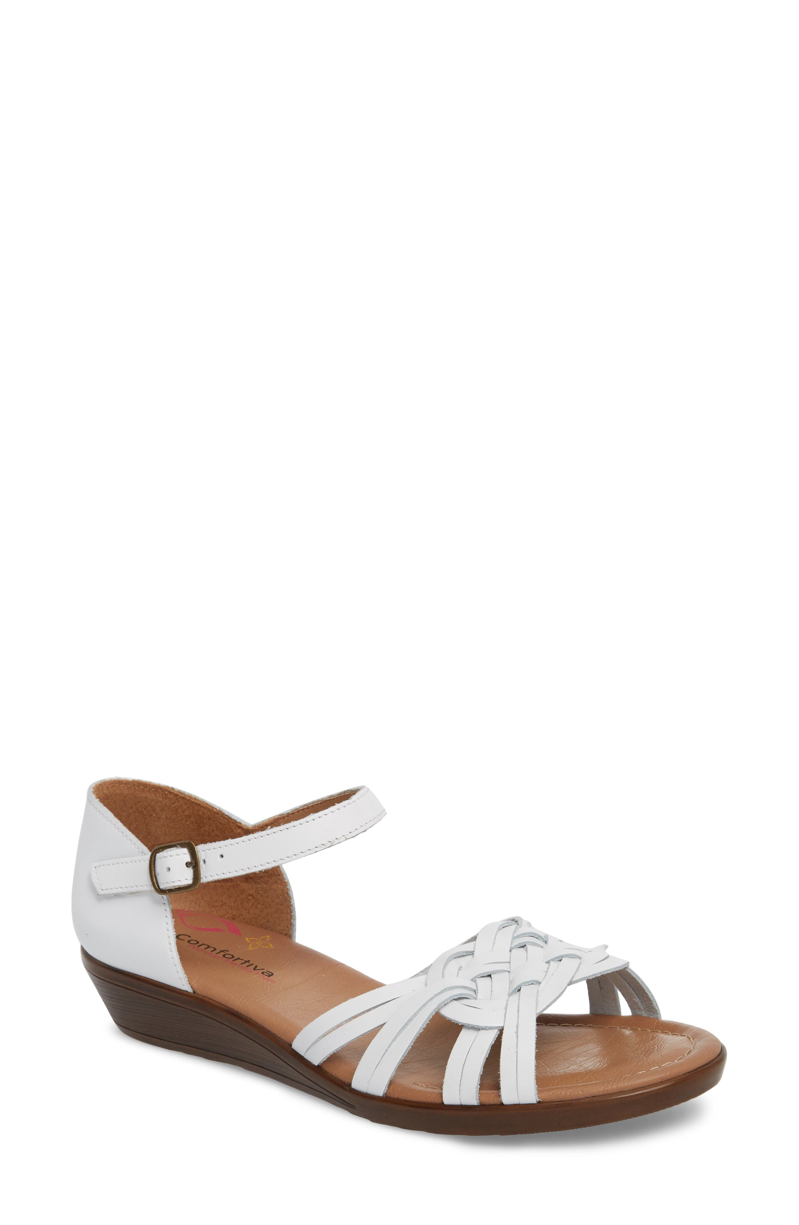 Fortune Sandal,                         Main,                         color, WHITE LEATHER