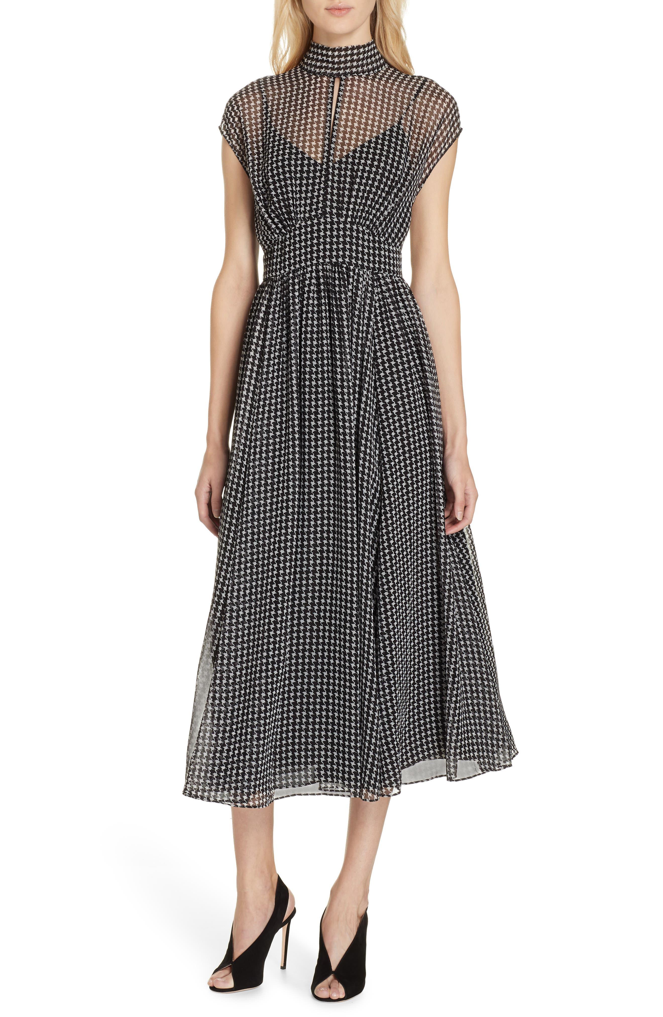 Kate Spade New York Houndstooth Chiffon Midi Dress