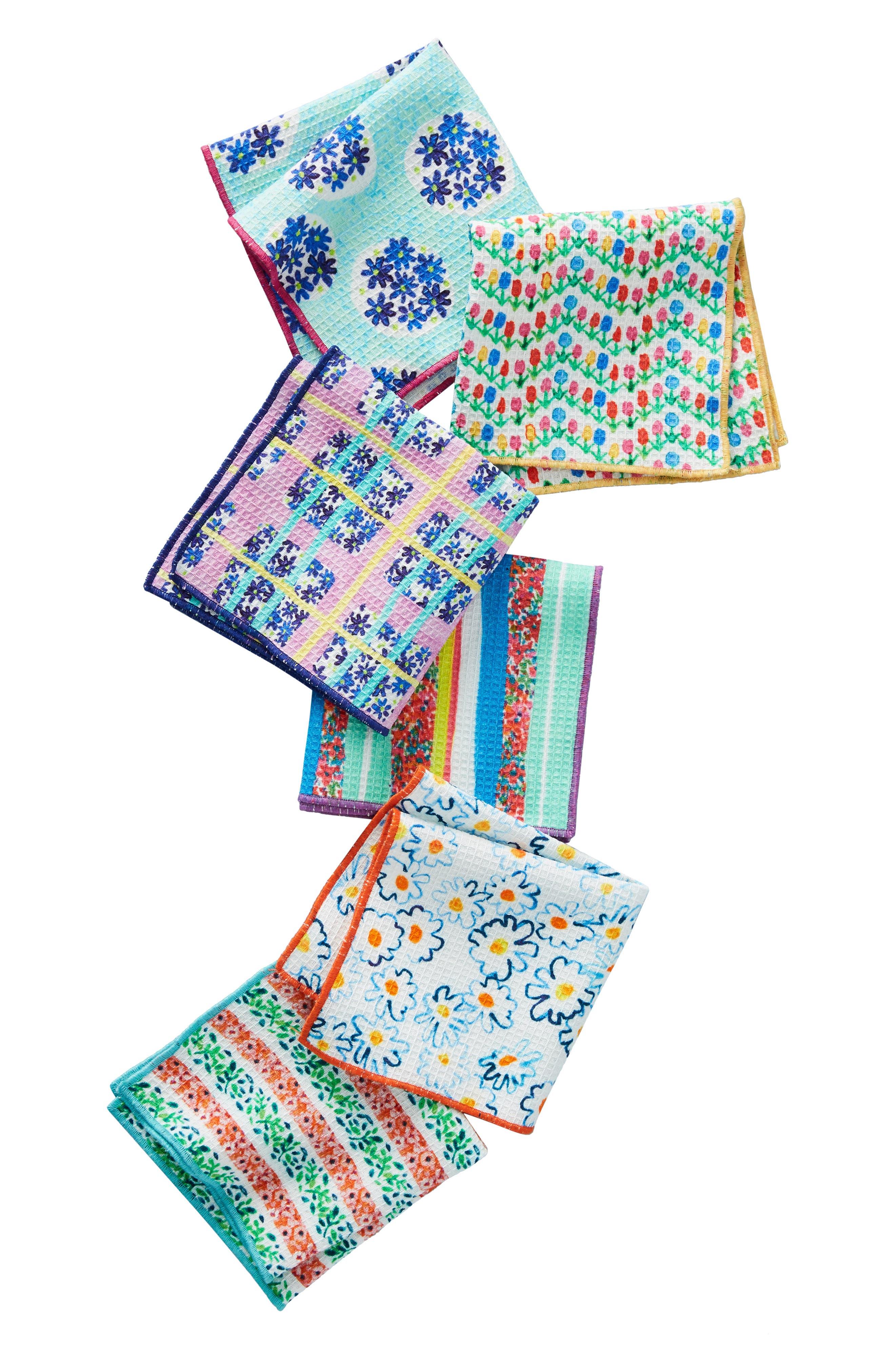 Gabriella Set of 6 Dish Cloths,                             Alternate thumbnail 3, color,                             BLUE MULTI