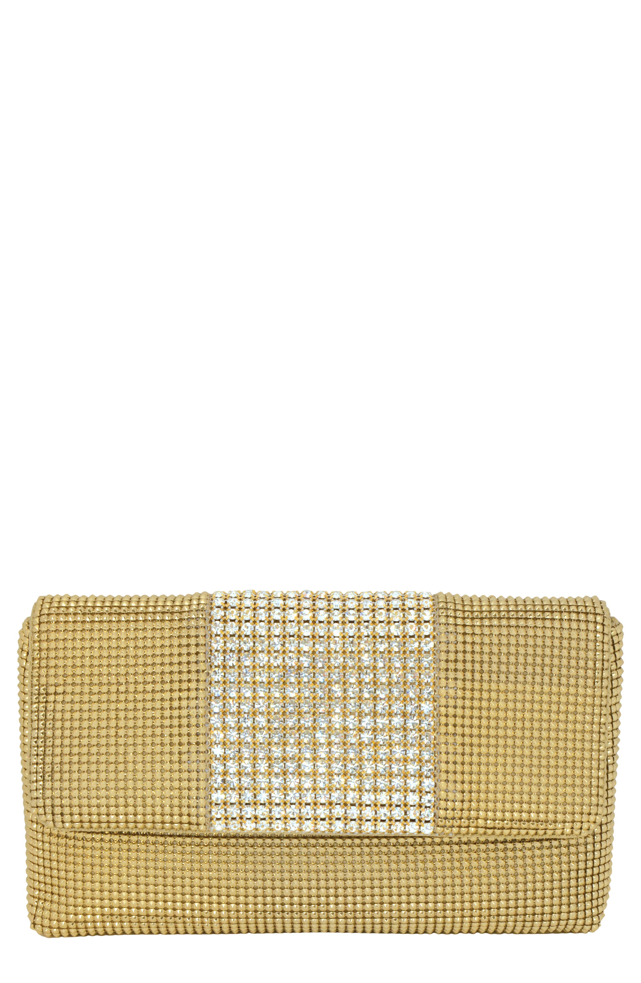WHITING & DAVIS Rhinestone Stripe Metallic Mesh Flap Clutch - Metallic in Gold