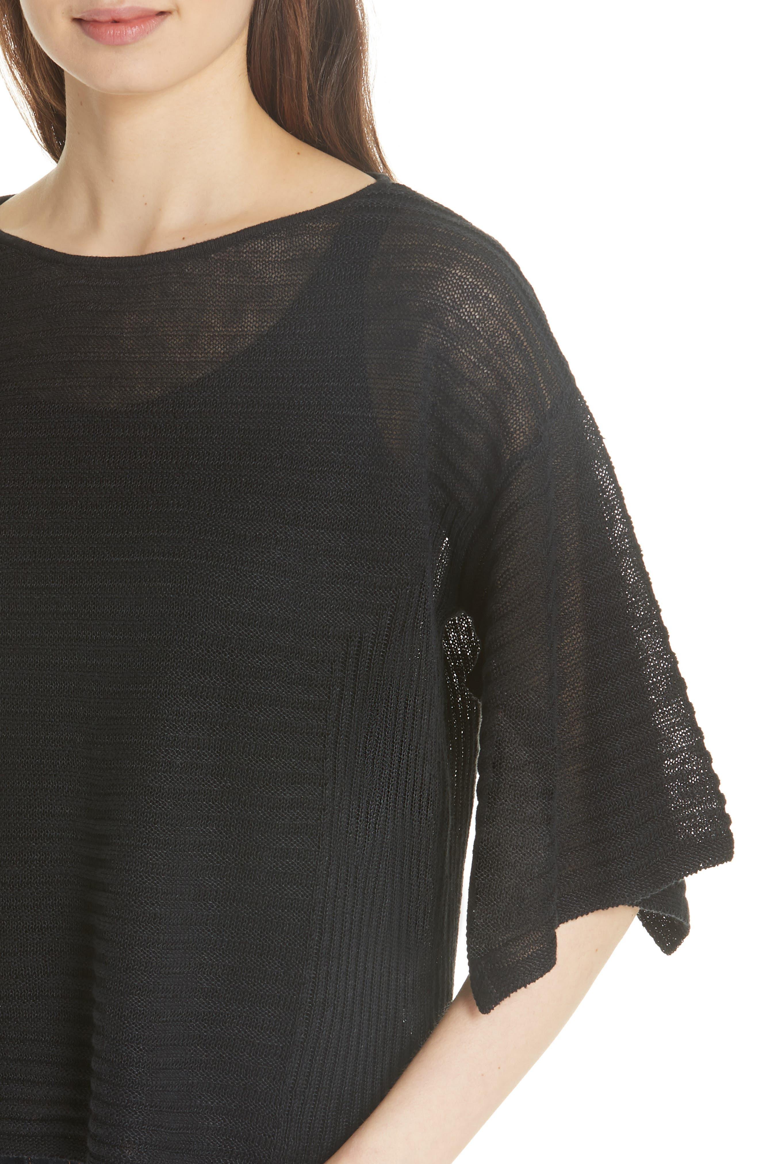 Slit Sleeve Organic Linen Sweater,                             Alternate thumbnail 4, color,                             001