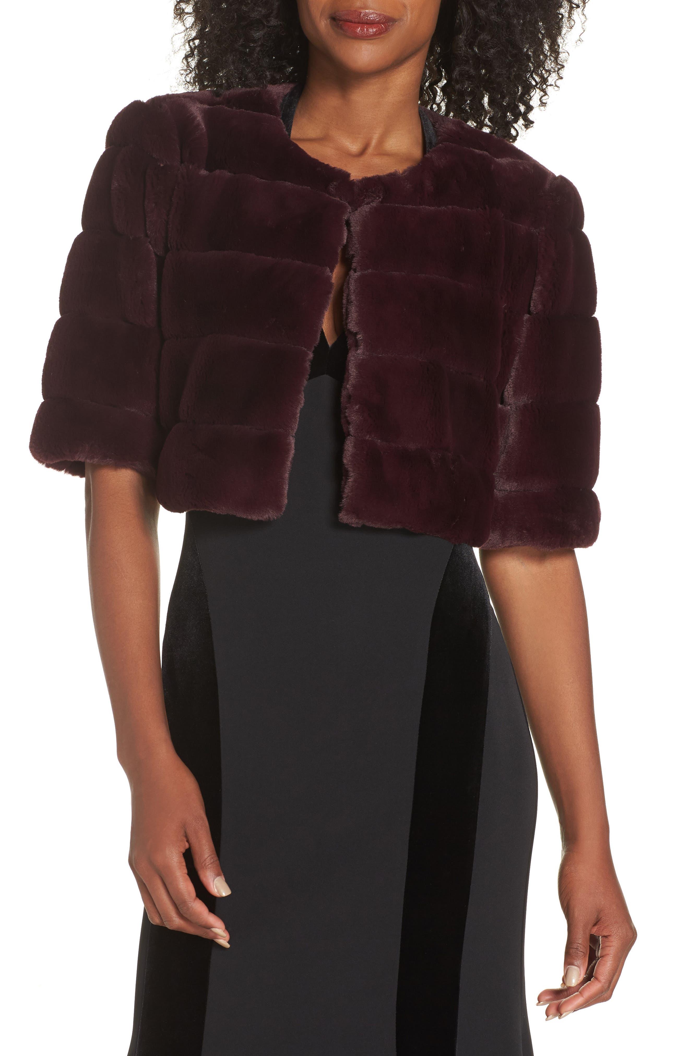 ELIZA J Faux Fur Crop Jacket, Main, color, WINE