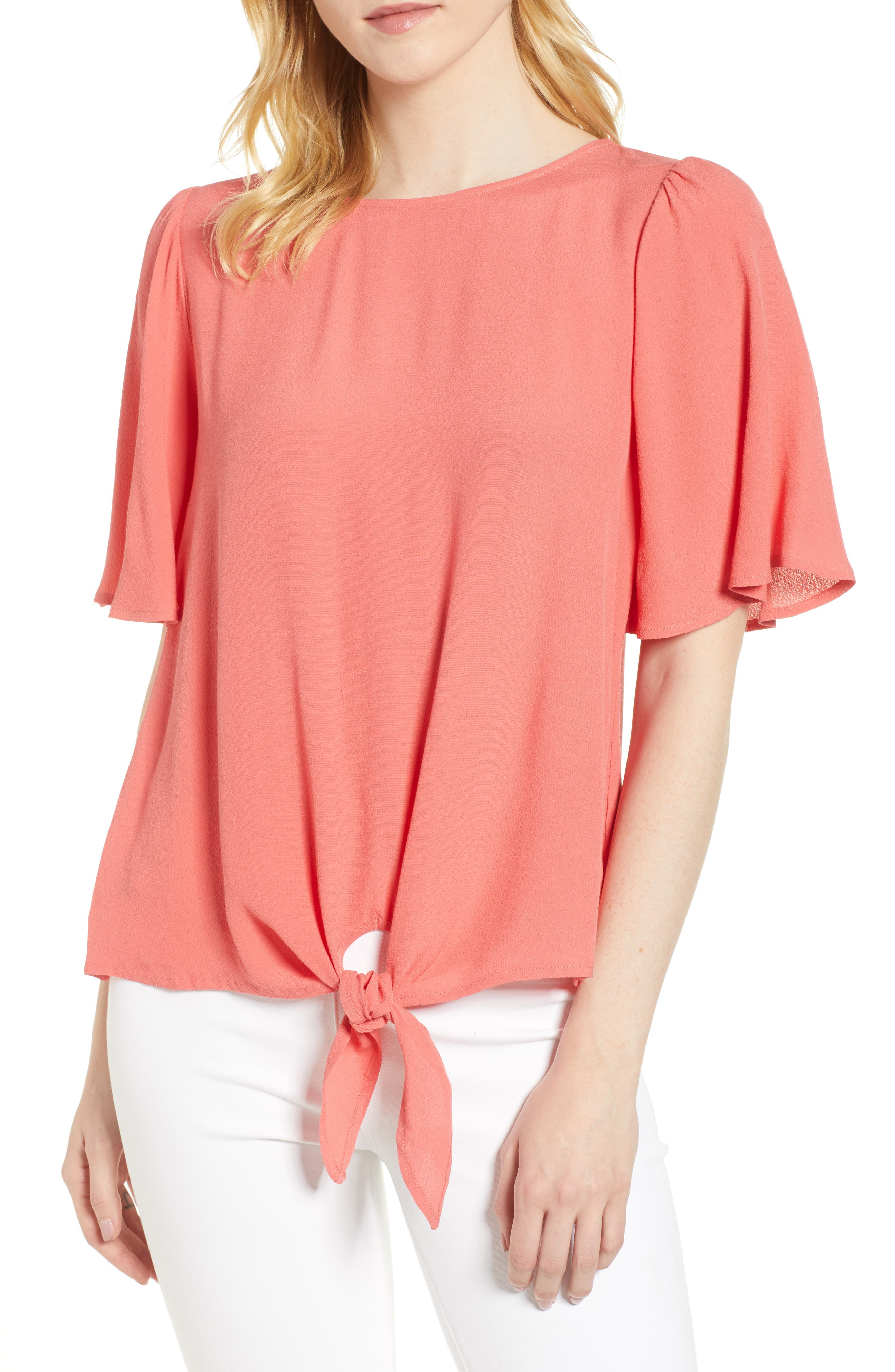 Ruffle Tie Front Top,                             Main thumbnail 4, color,