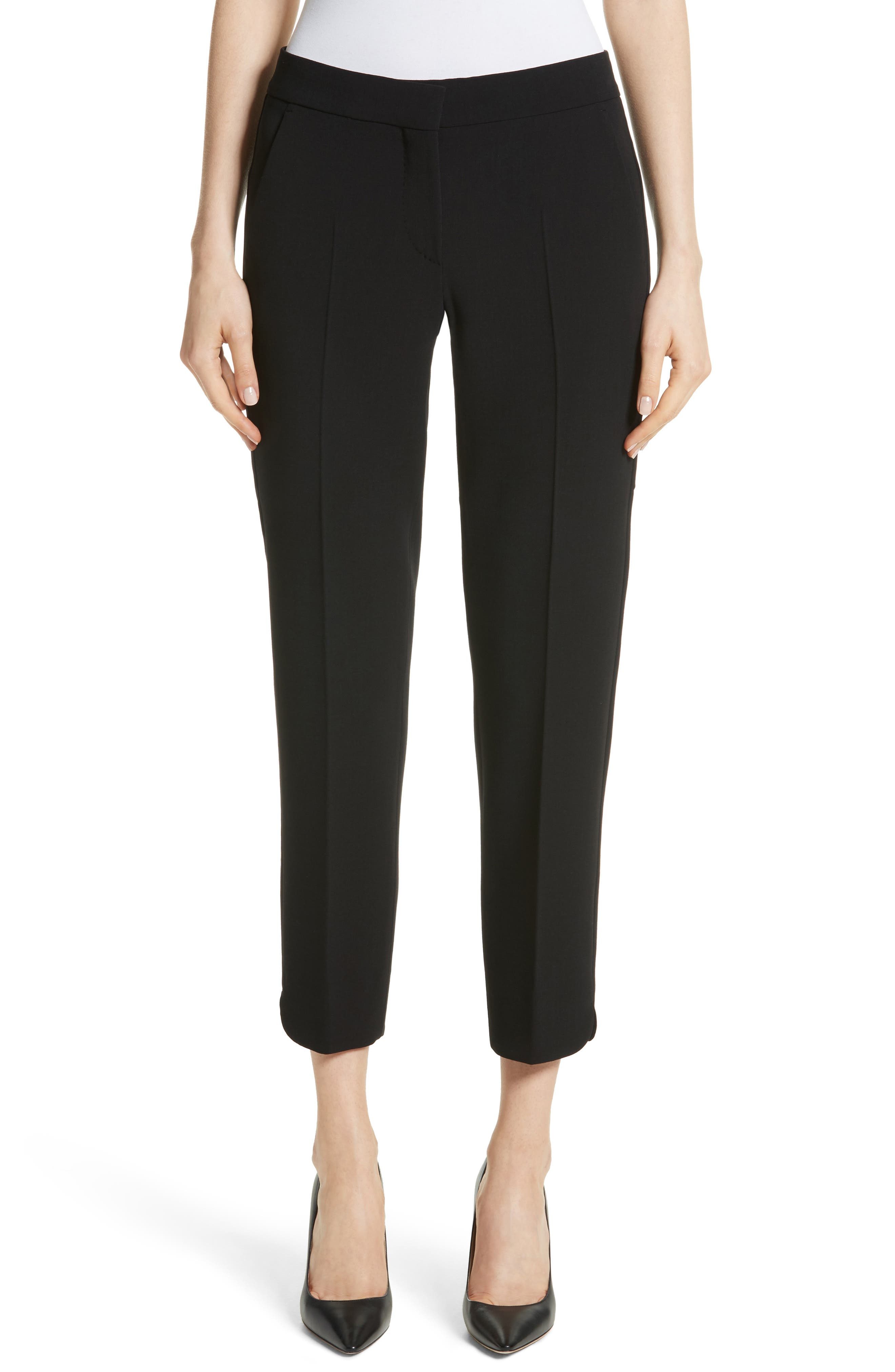 Cagli Stretch Wool Crop Pants,                         Main,                         color, 001