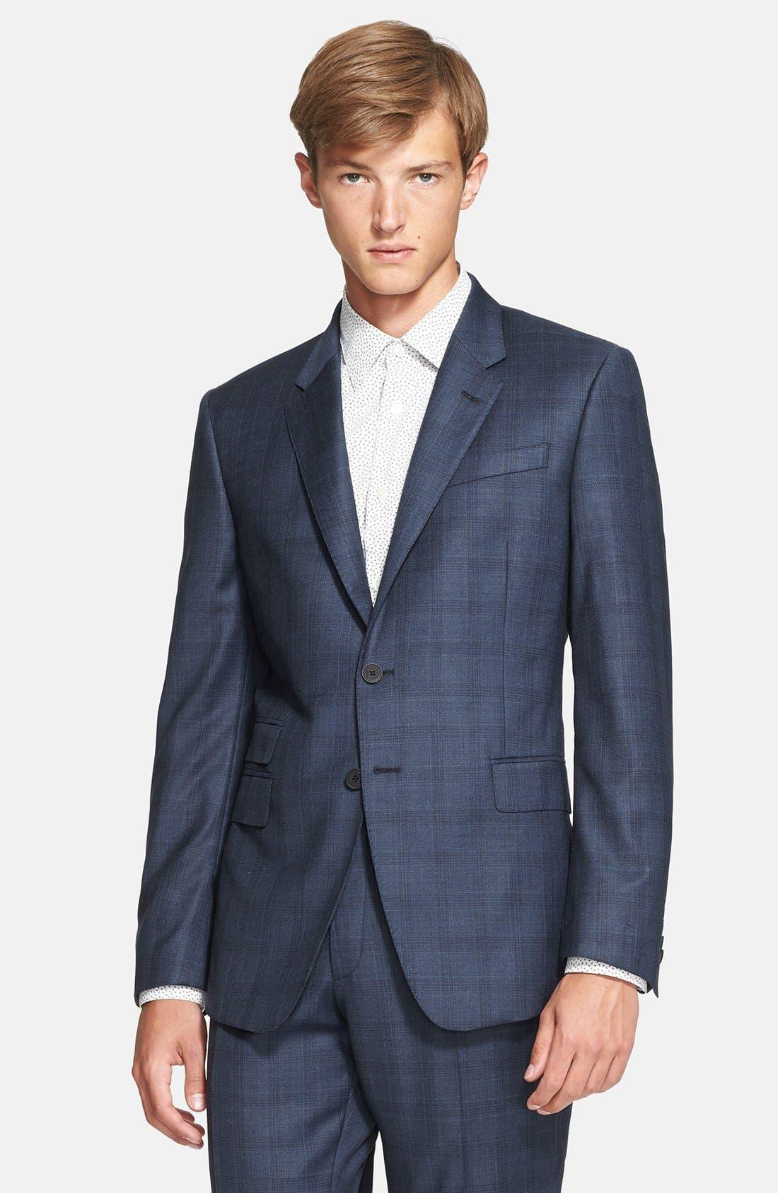 'Byard' Trim Fit Plaid Suit,                             Alternate thumbnail 2, color,                             414