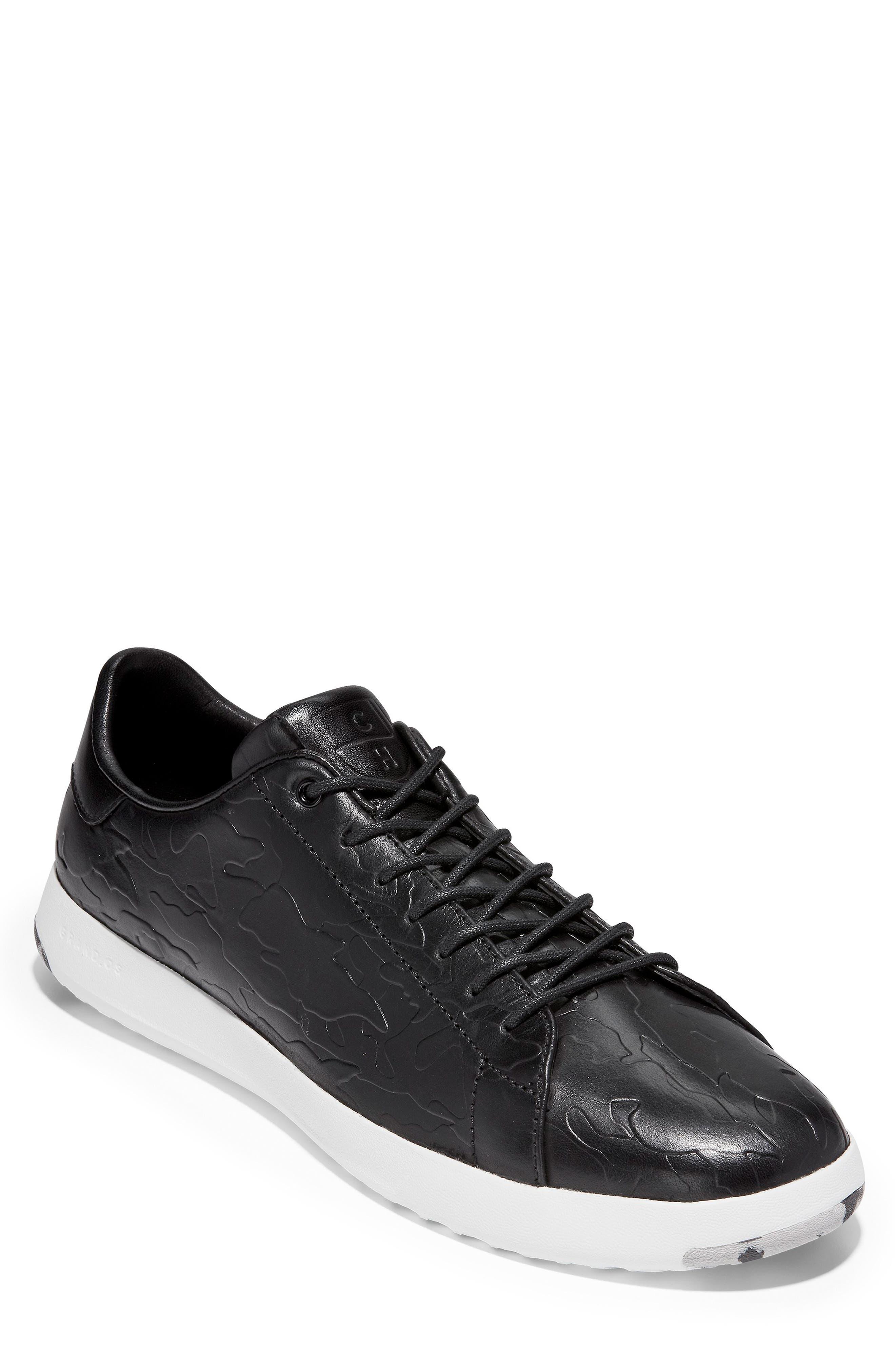 GrandPro Tennis Sneaker,                             Main thumbnail 1, color,                             BLACK/ CAMO LEATHER