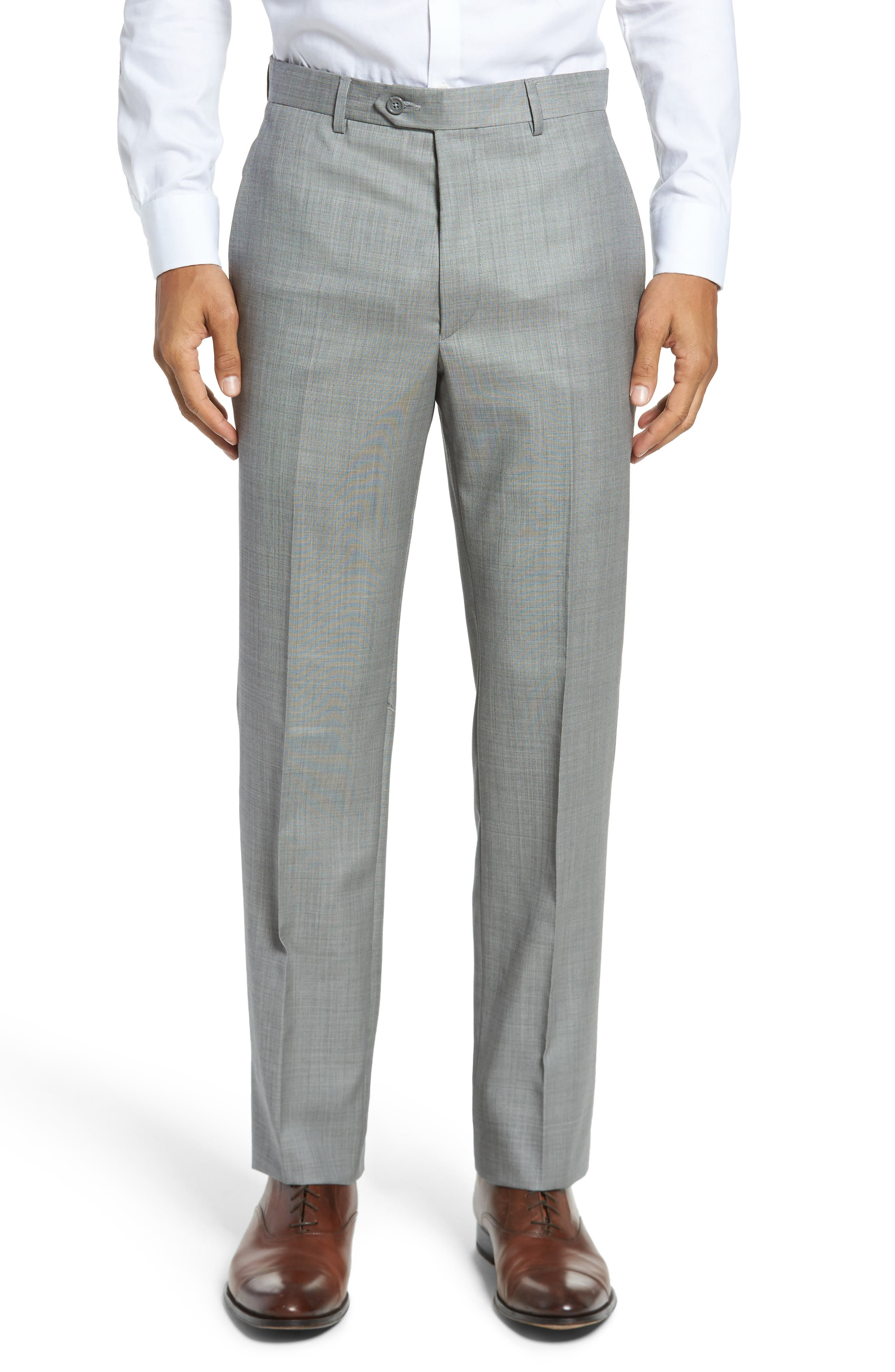 Flat Front Solid Wool Trousers,                             Main thumbnail 1, color,                             076