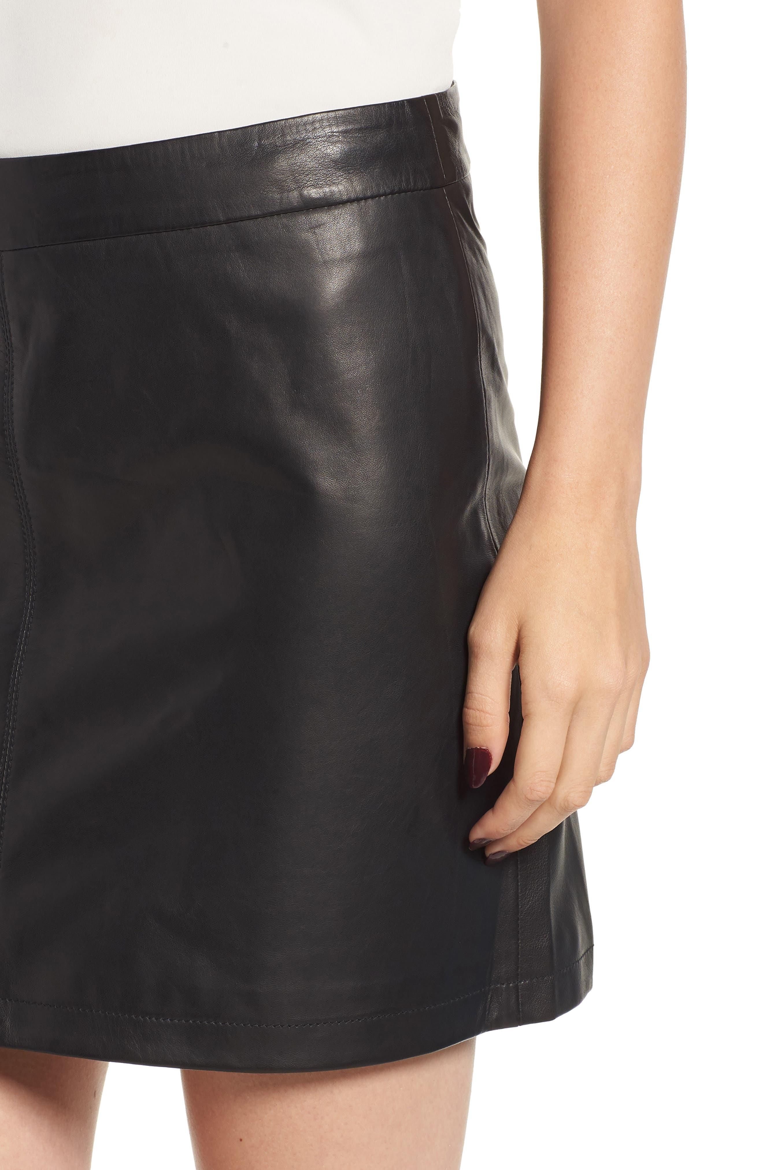 Marrie Leather Miniskirt,                             Alternate thumbnail 4, color,                             BLACK