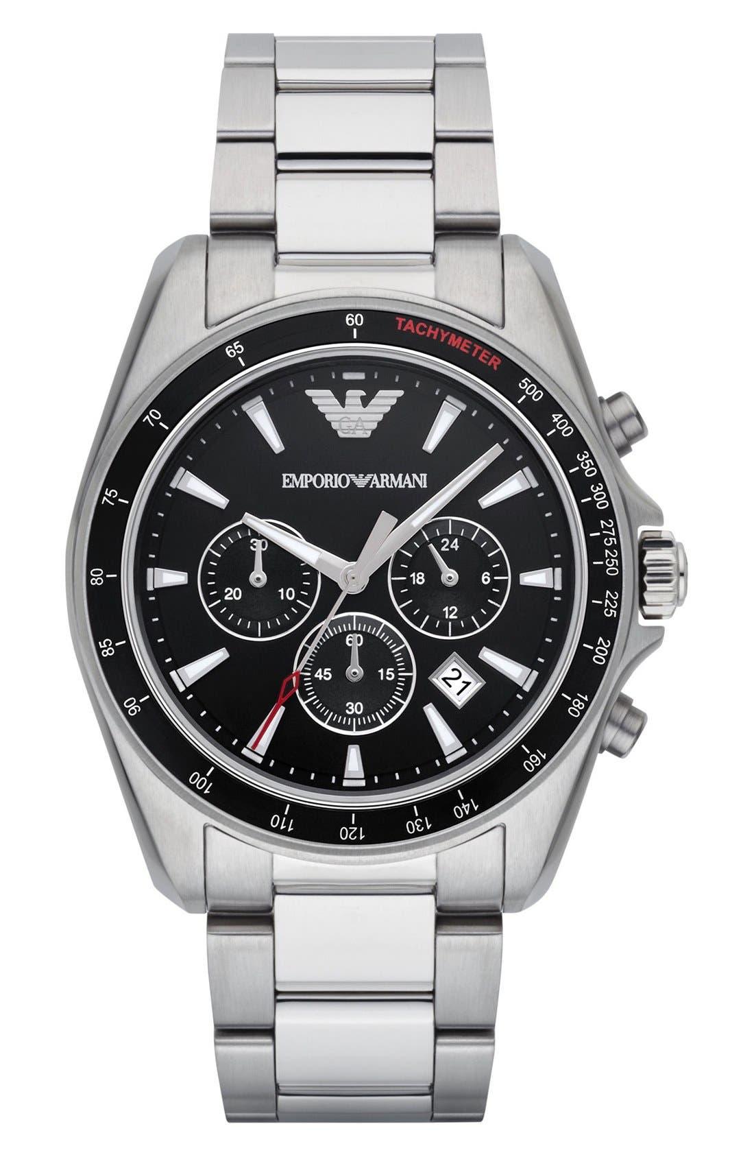Chronograph Bracelet Watch, 44mm,                         Main,                         color, SILVER/ BLACK