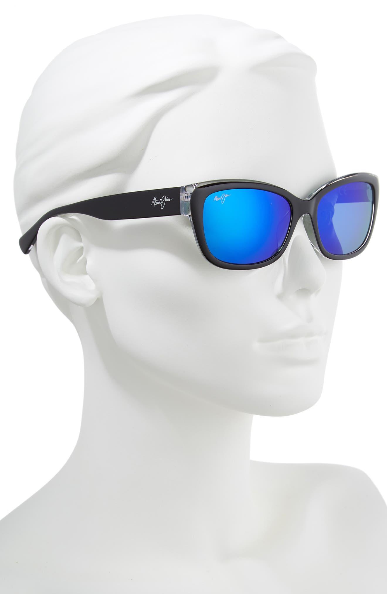 Plumeria 55mm Polarized Cat Eye Sunglasses,                             Alternate thumbnail 2, color,                             BLACK W CRYSTAL/ BLUE HAWAII