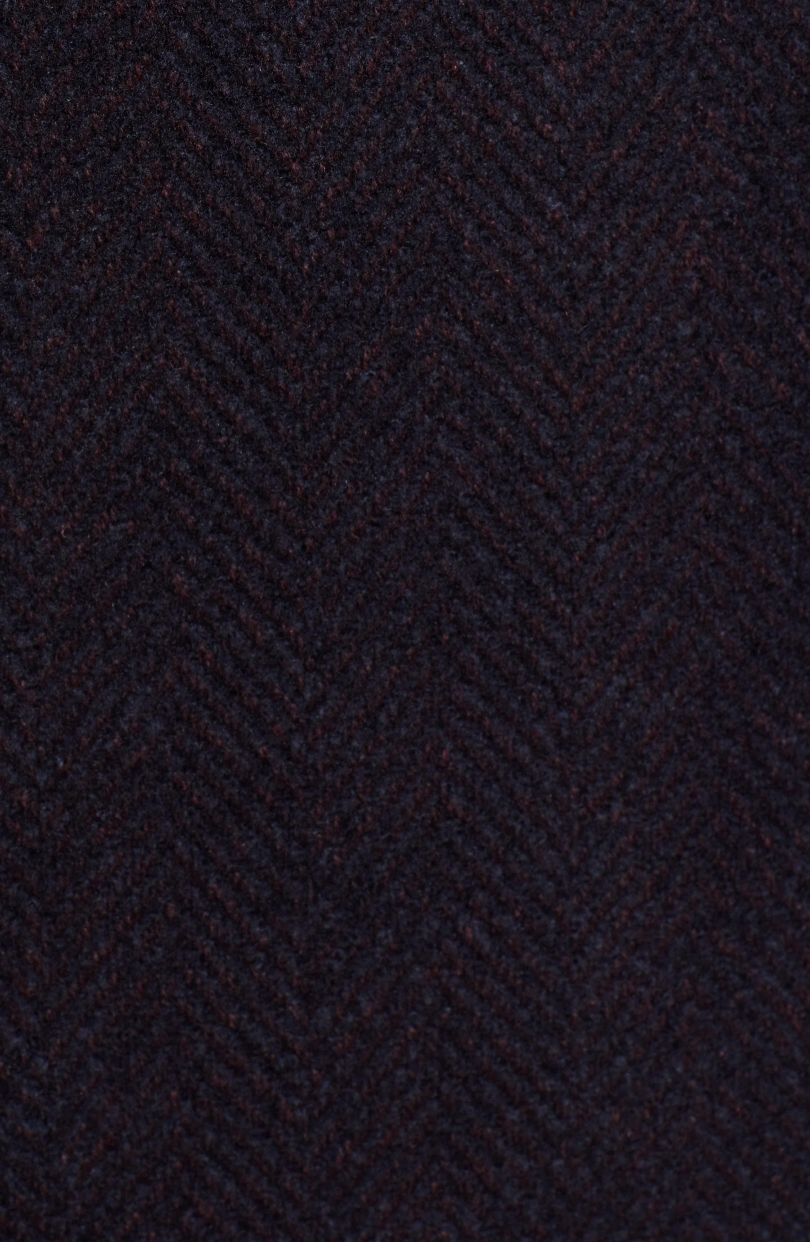 x Nordstrom Nye Wool Blend Top Coat,                             Alternate thumbnail 6, color,                             DARK RED
