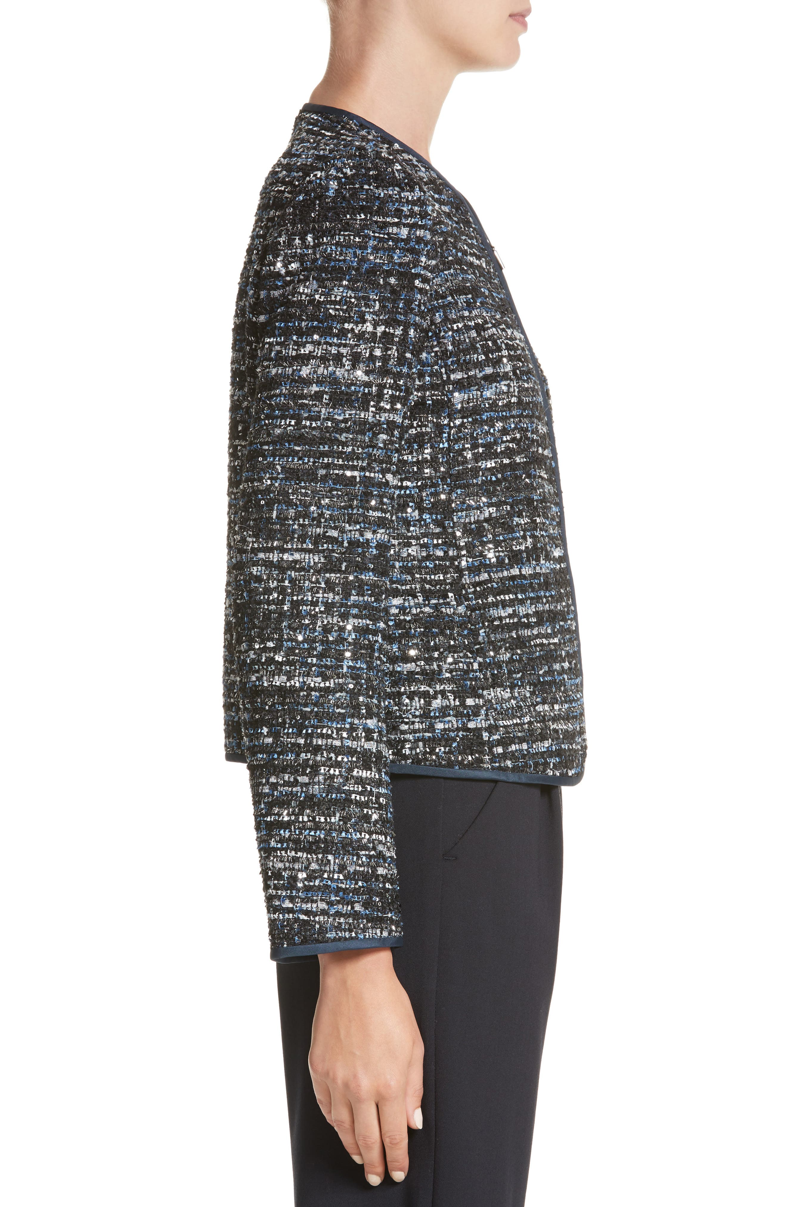 Sequin Tweed Jacket,                             Alternate thumbnail 3, color,                             001