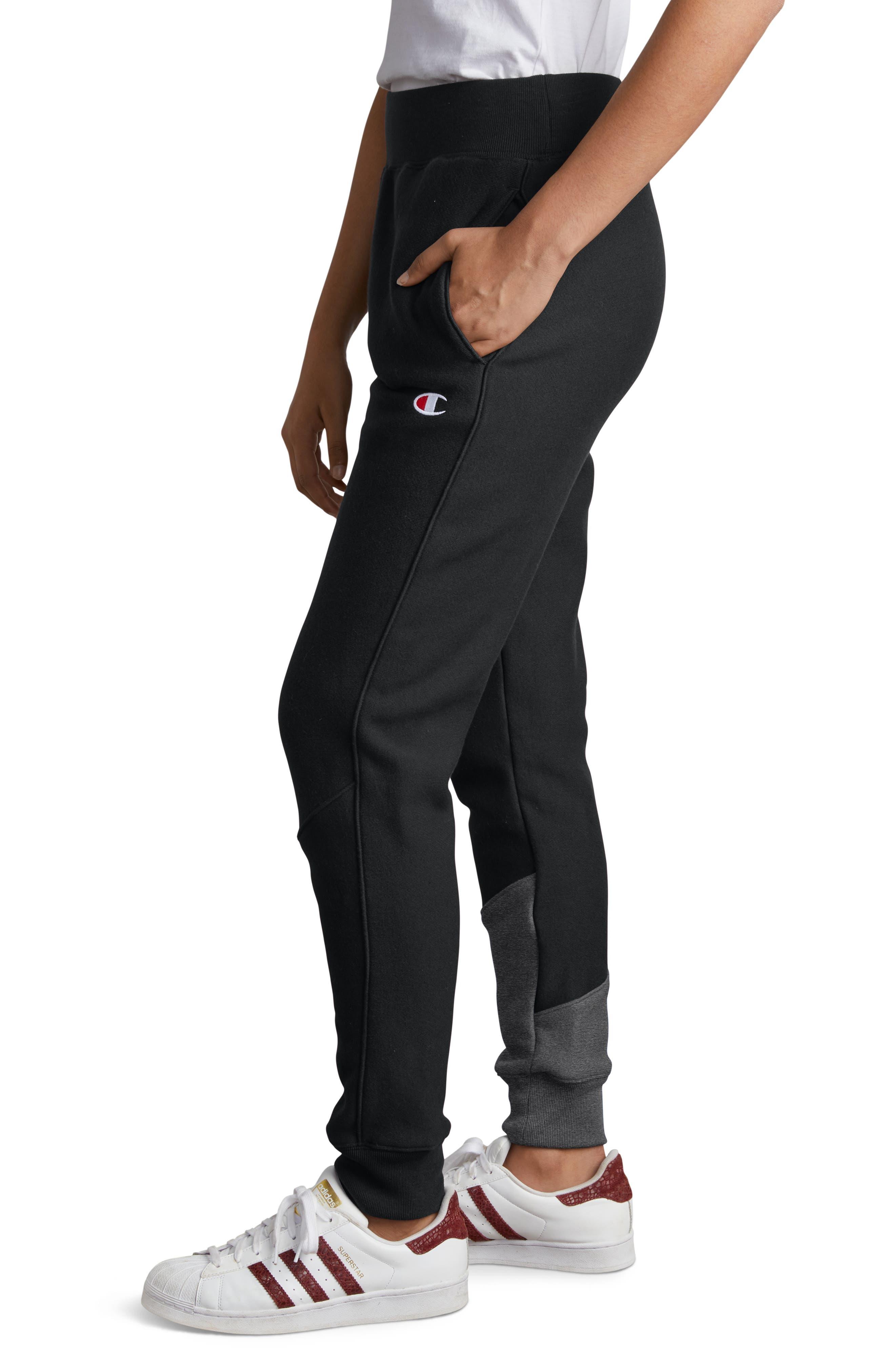 Color Block Jogger Pants,                             Alternate thumbnail 4, color,                             BLACK/ GRANITE HEATHER