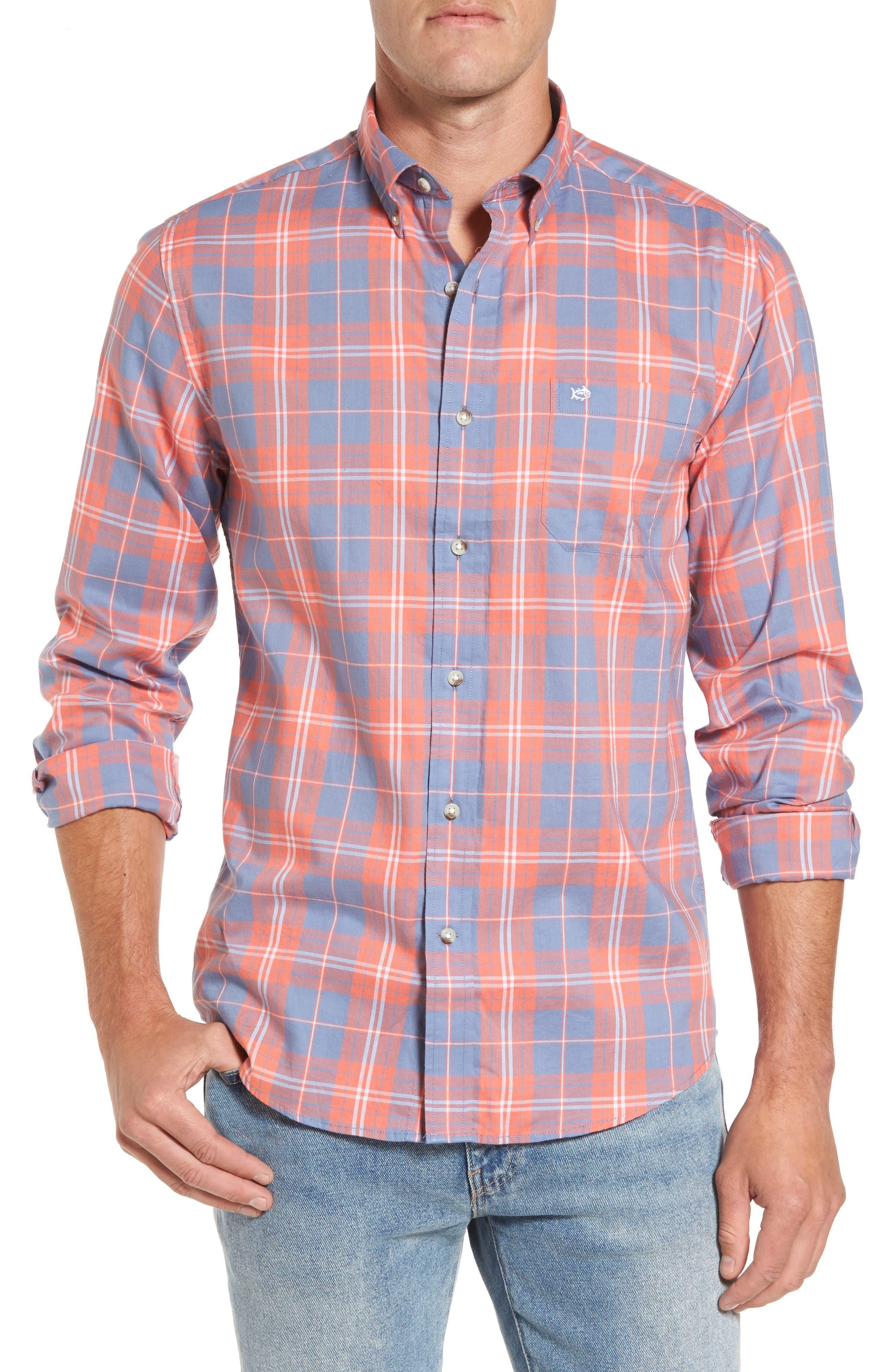 Charleston Station Slim Fit Plaid Sport Shirt,                             Main thumbnail 1, color,