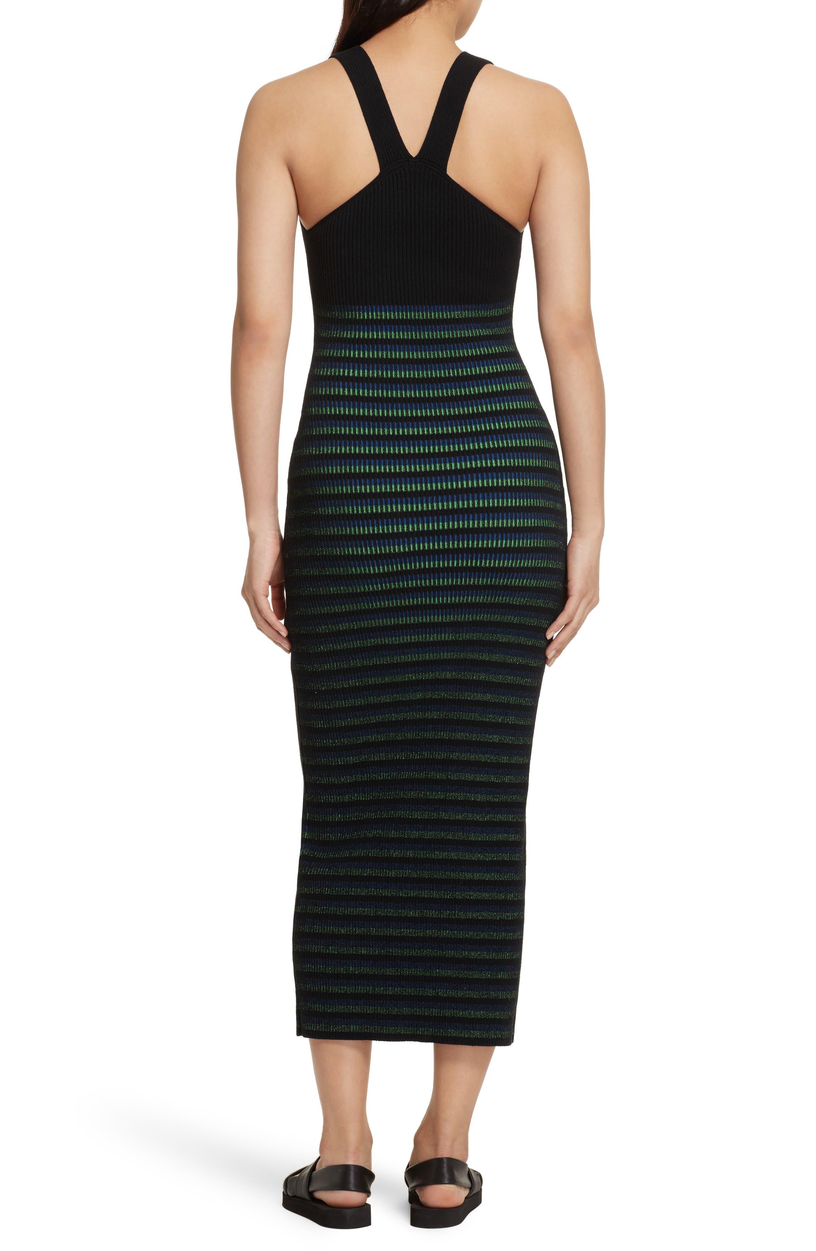 Ribbed Stripe Midi Dress,                             Alternate thumbnail 2, color,                             002