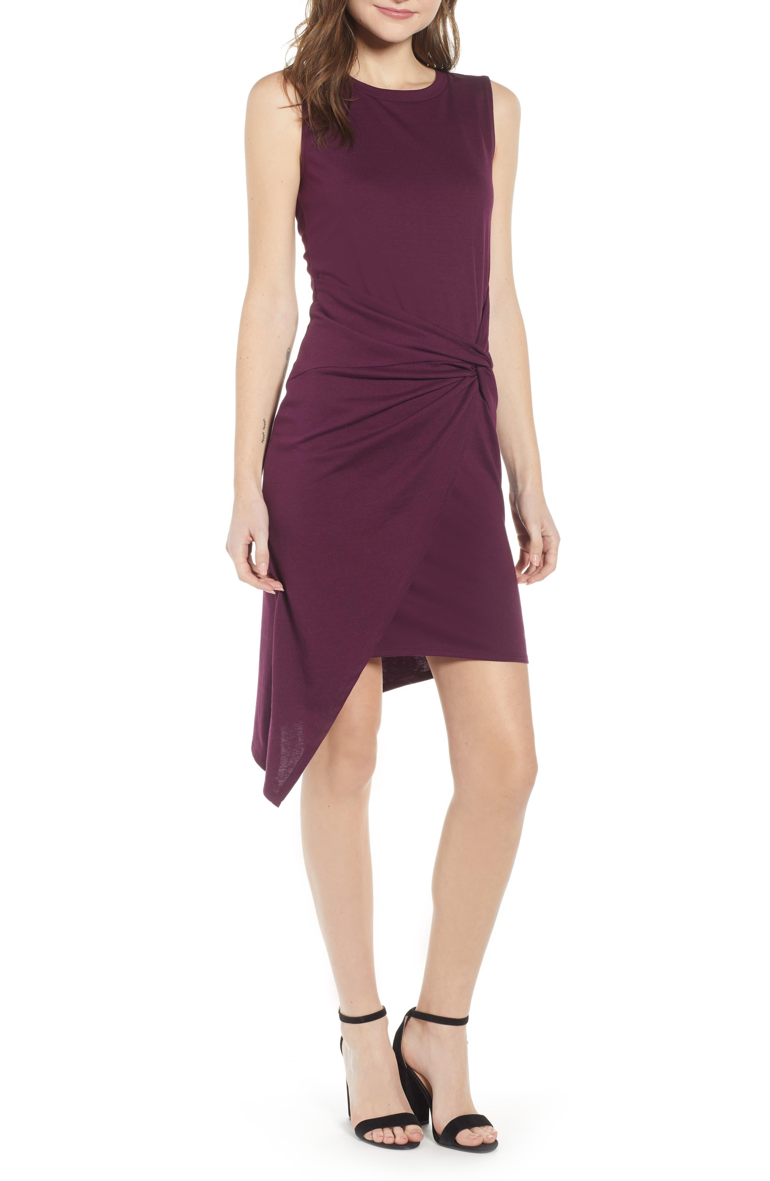 Chelsea28 Twist Front Dress, Purple