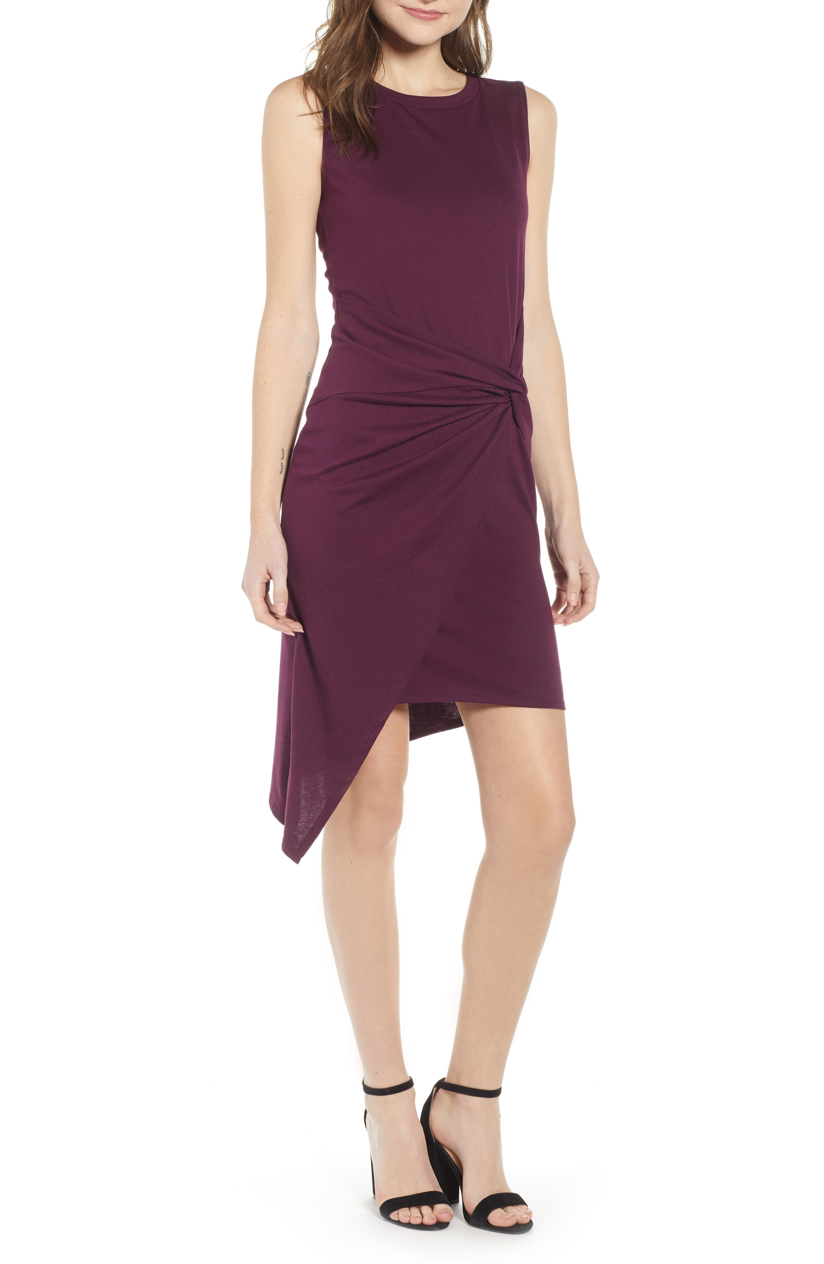 Twist Front Dress, Main, color, PURPLE POTENT