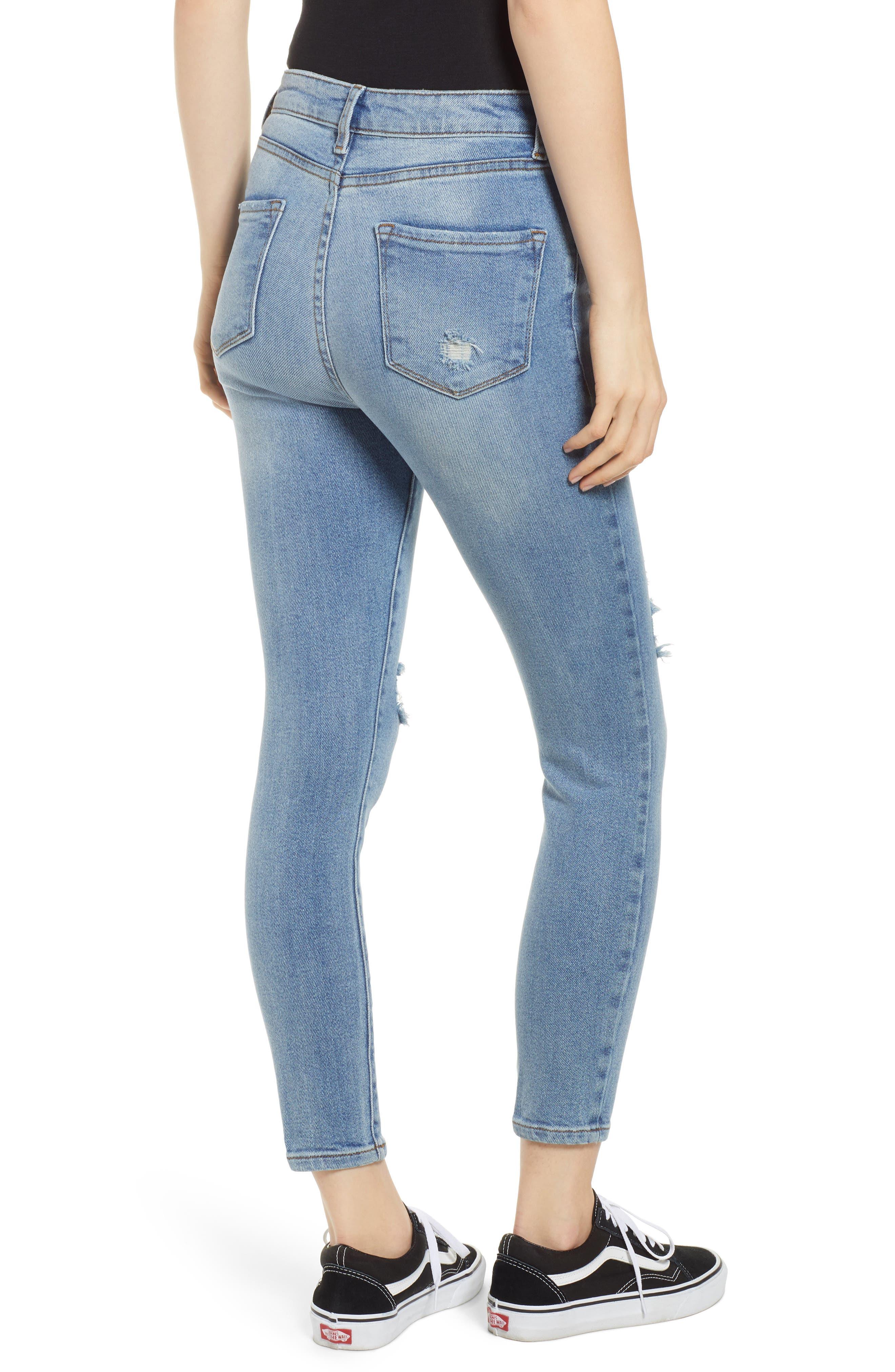 Brie High Waist Ripped Skinny Jeans,                             Alternate thumbnail 2, color,                             BRADFORD LIGHT WASH