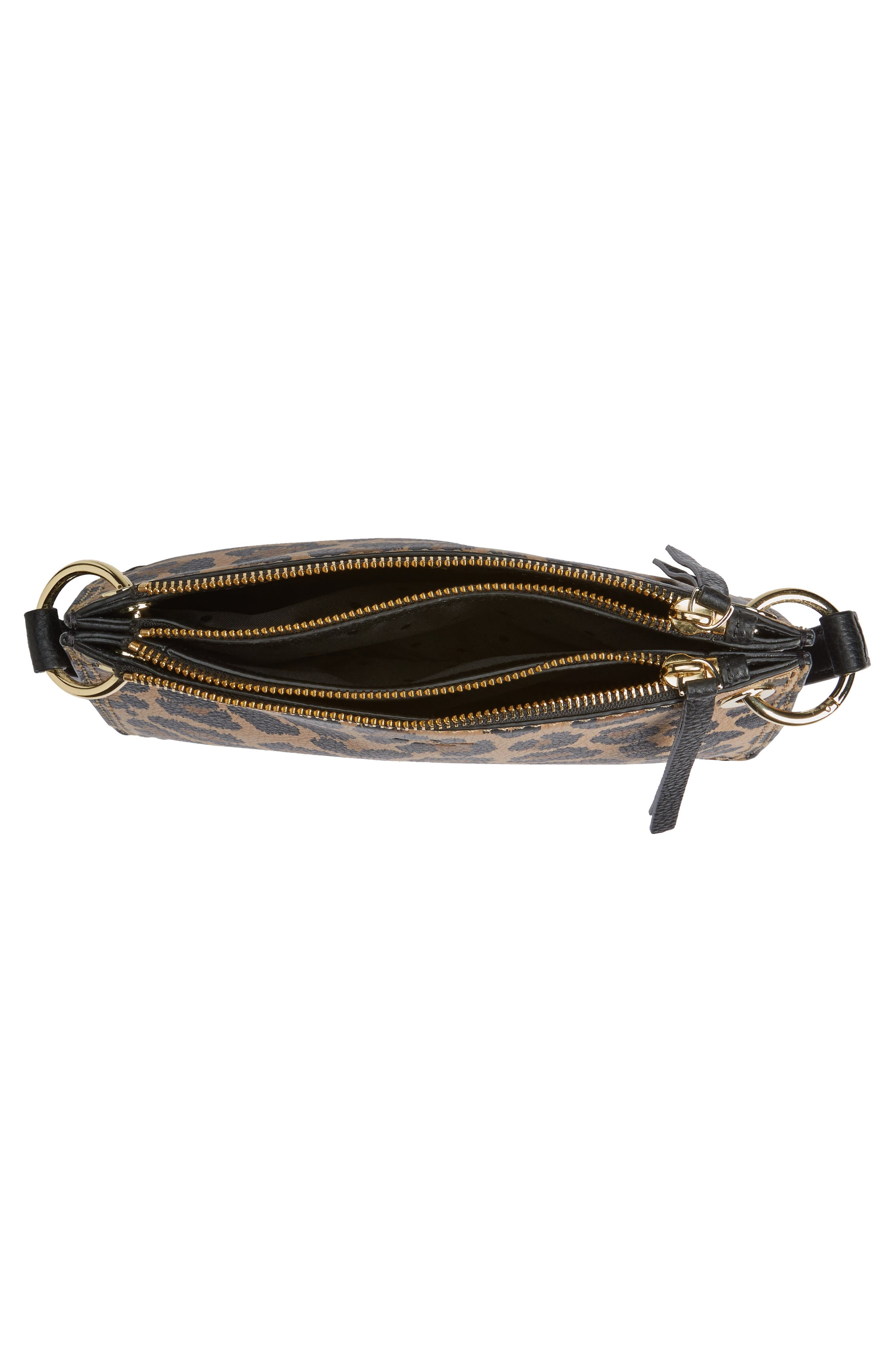 dunne lane - leopard caro leather crossbody bag,                             Alternate thumbnail 4, color,                             200