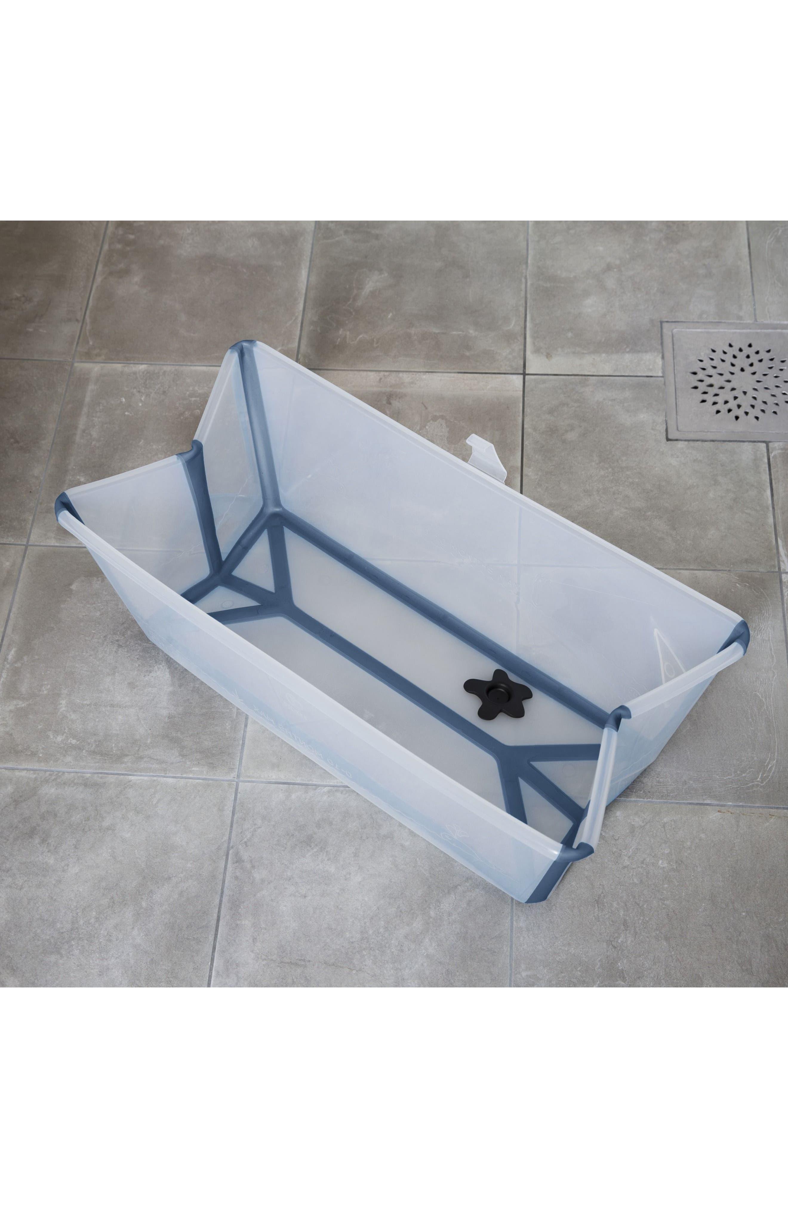 'Flexi Bath<sup>®</sup>' Foldable Baby Bathtub,                             Alternate thumbnail 4, color,                             TRANSPARENT BLUE