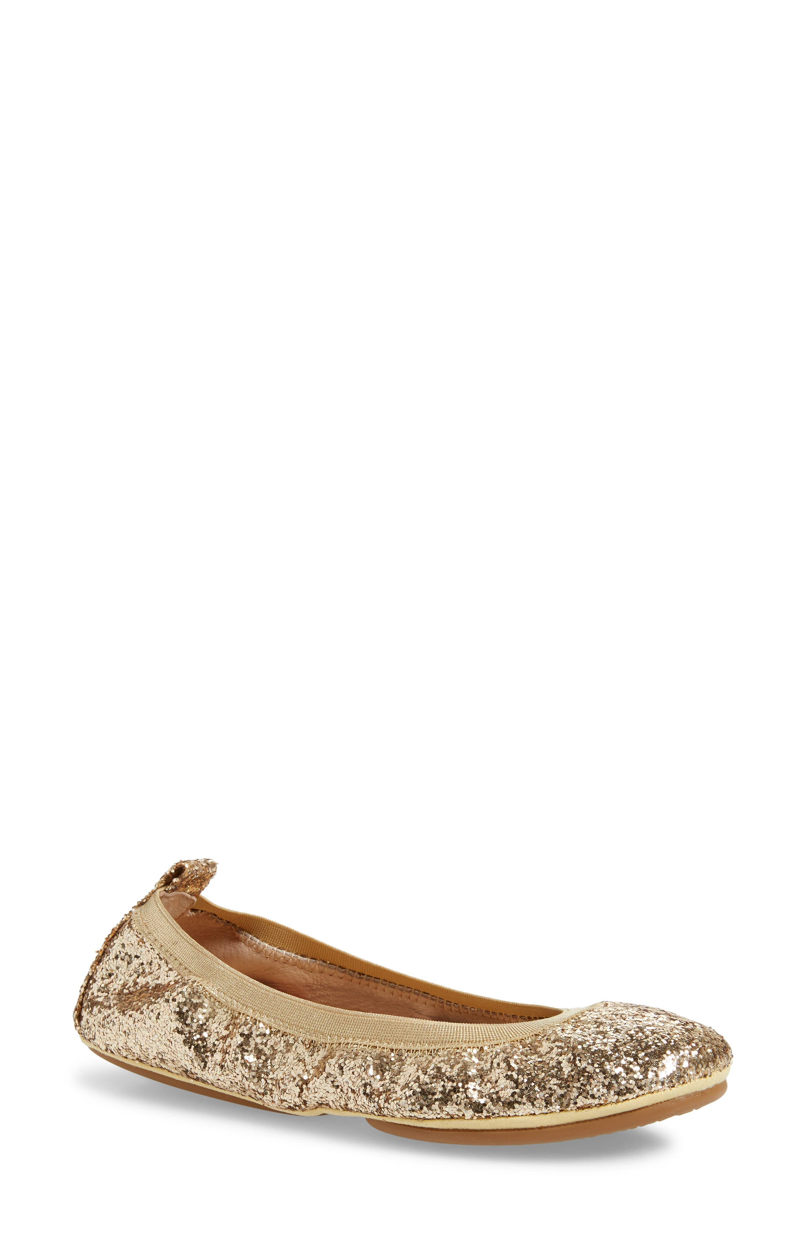 YOSI SAMRA Samara Foldable Ballet Flat in Champagne Glitter
