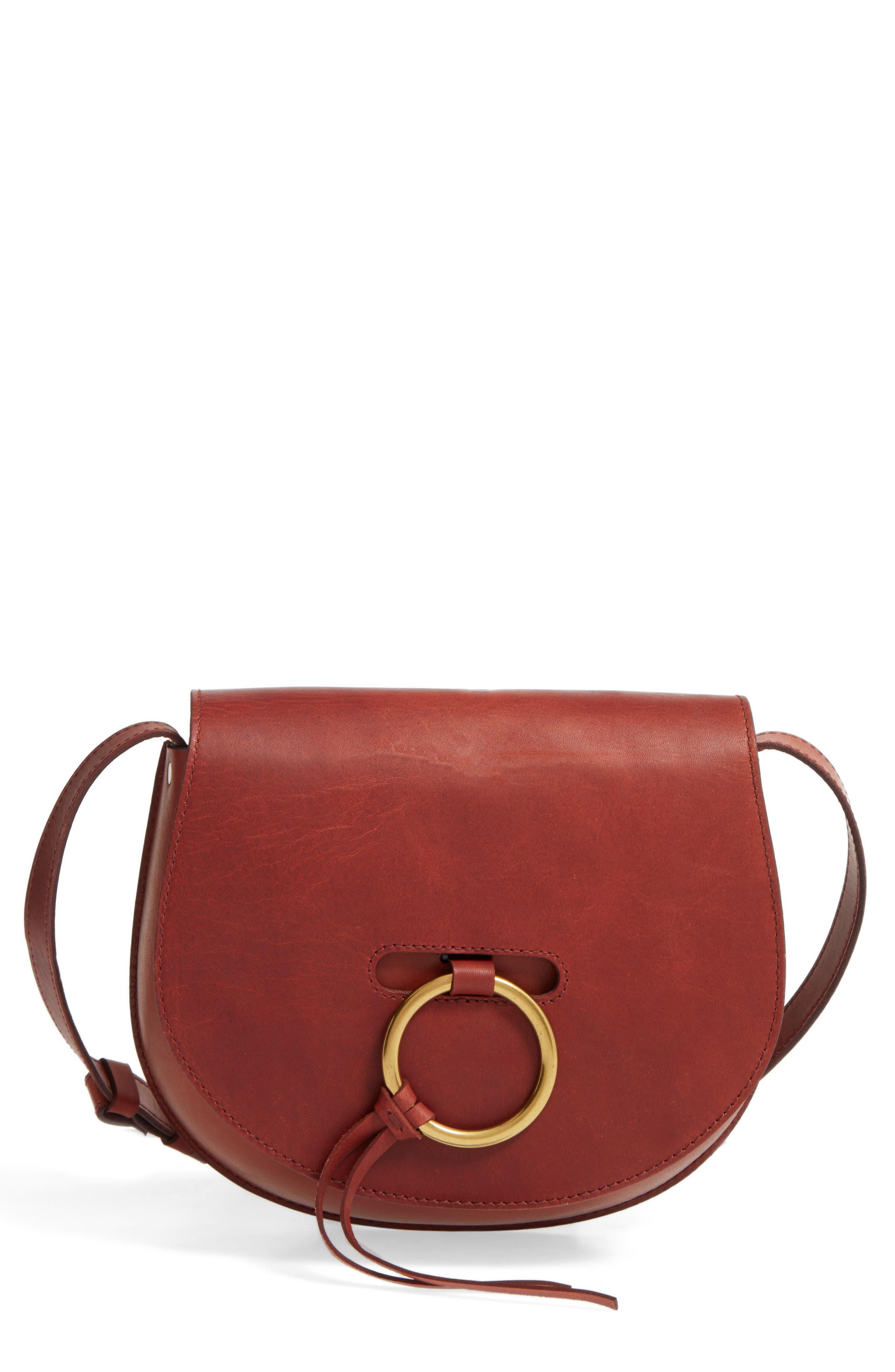 O-Ring Leather Saddle Bag, Main, color, 200